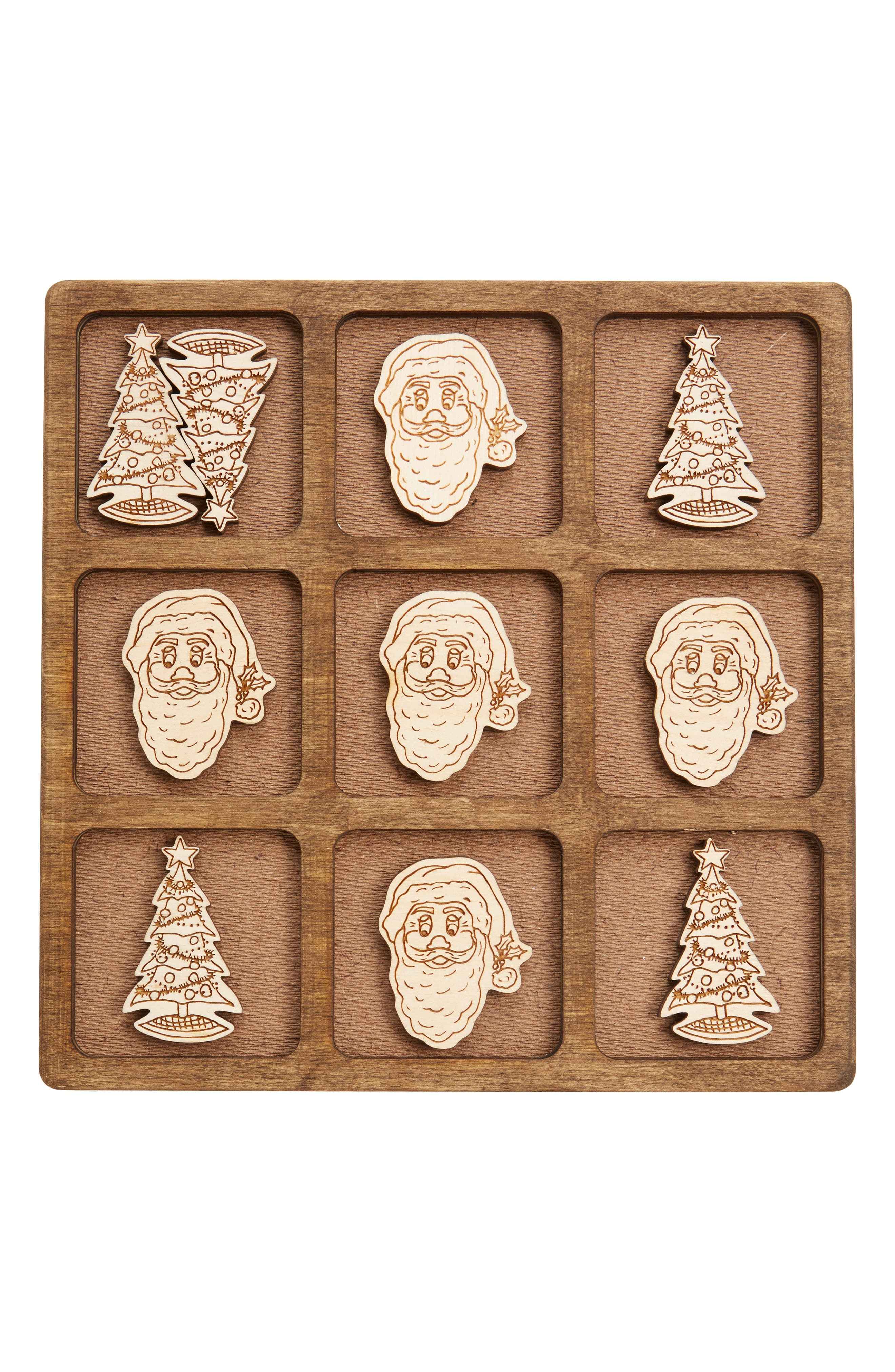 Toys 11-Piece Christmas Tic-Tac-Toe Game,                         Main,                         color, Walnut