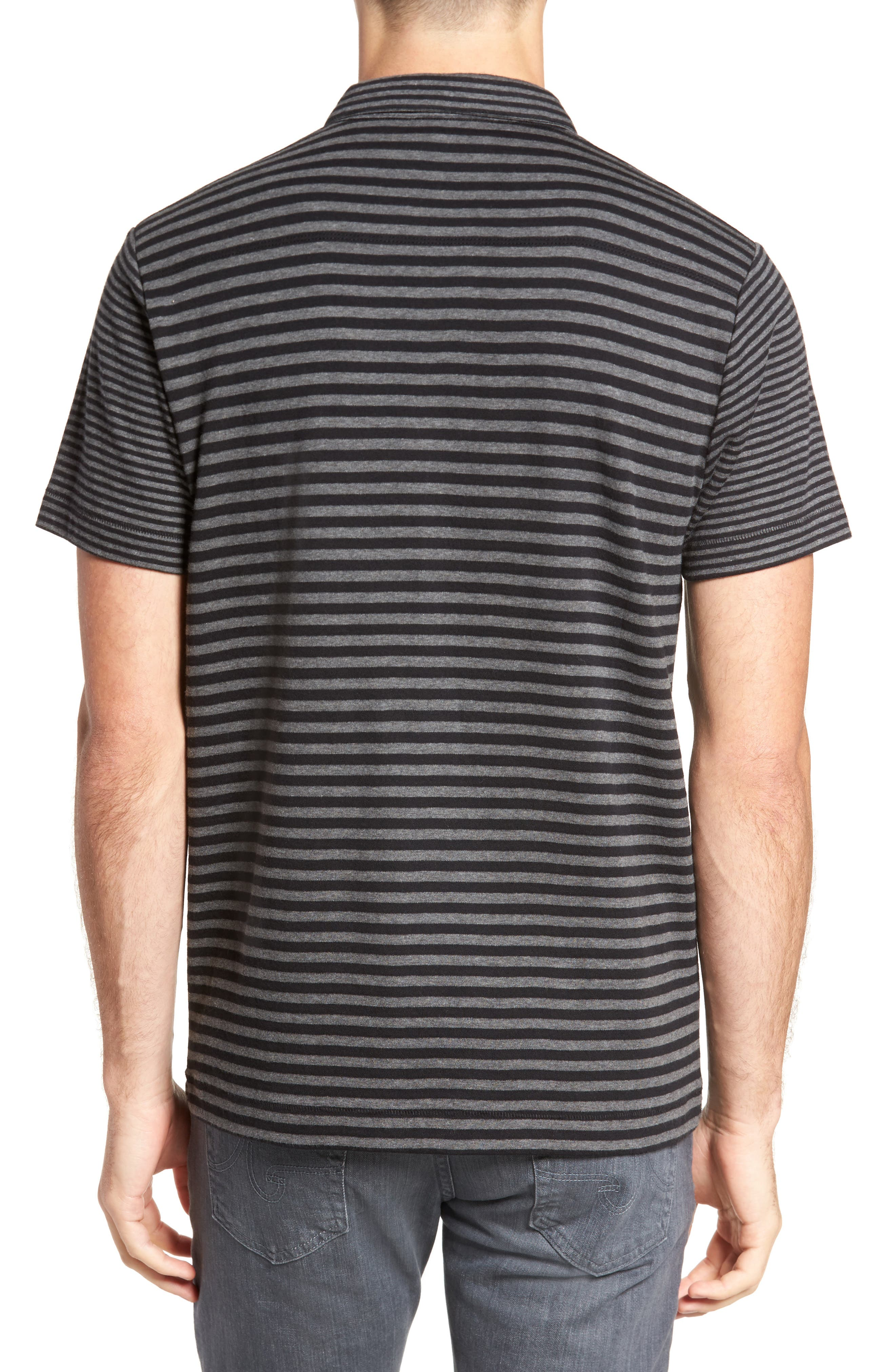 Alternative Stripe Short Sleeve Polo,                             Alternate thumbnail 2, color,                             Charcoal Melange/ Black