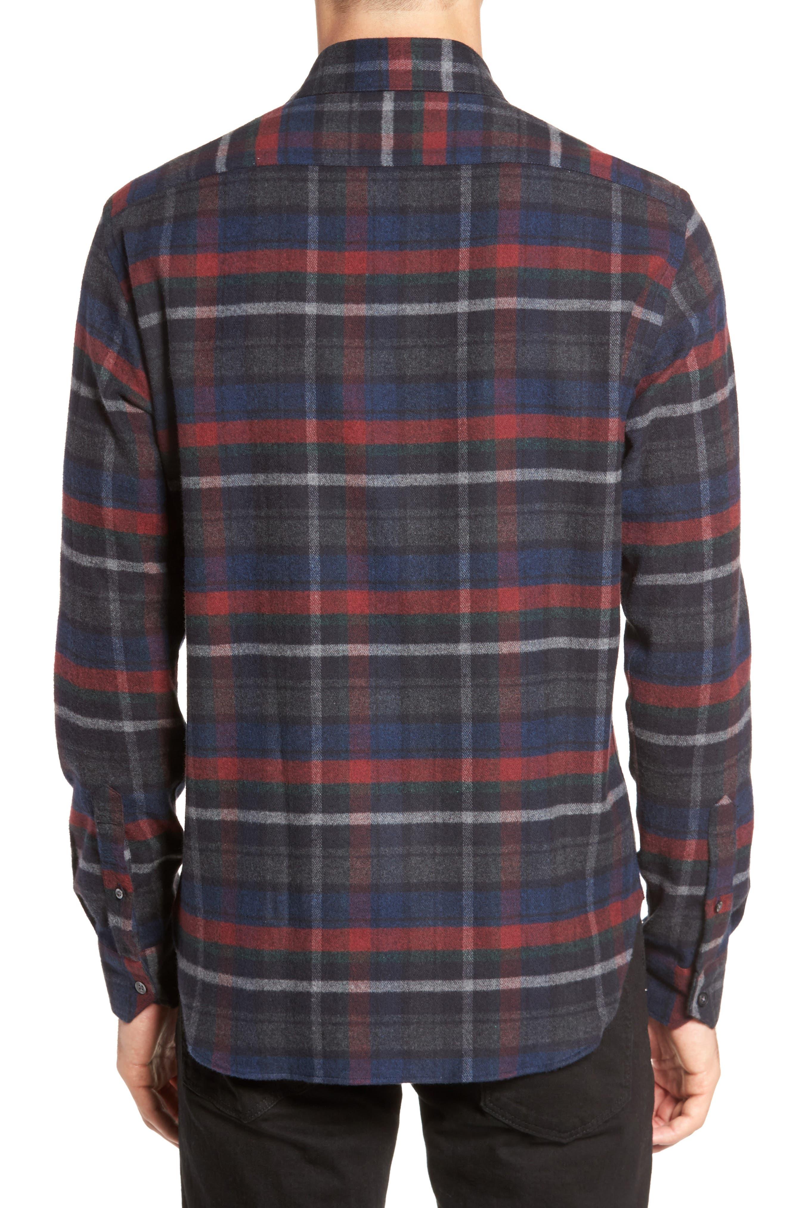 Plaid Flannel Sport Shirt,                             Alternate thumbnail 2, color,                             Charcoal