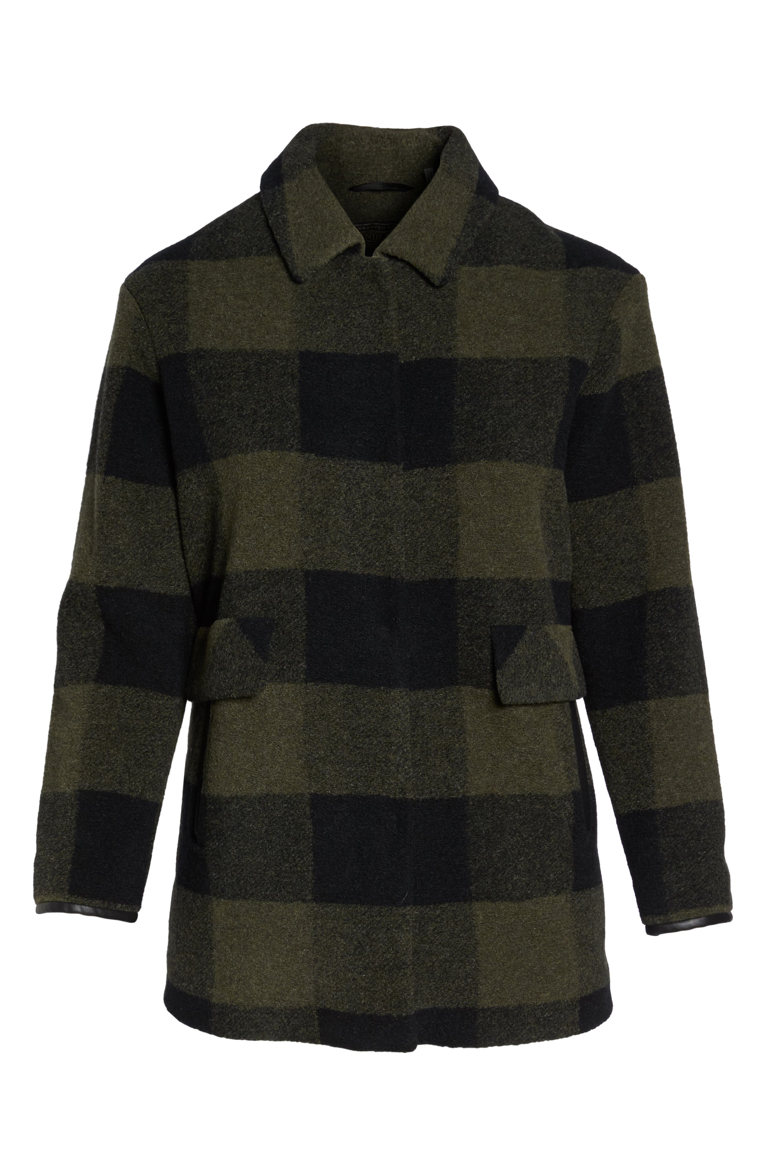 Paul Bunyan Plaid Wool Blend Barn Coat,                             Alternate thumbnail 6, color,                             Olive/ Buff
