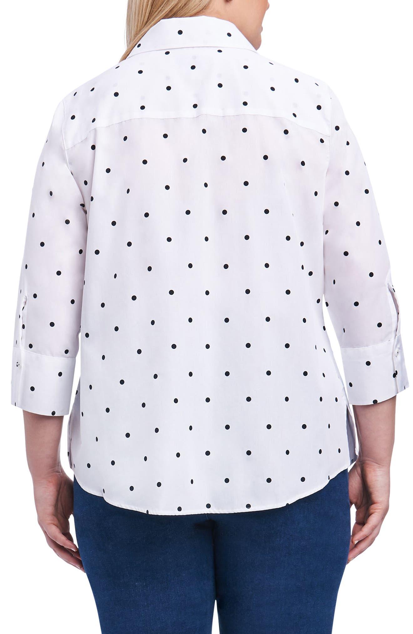 Mary Dot Print Shirt,                             Alternate thumbnail 2, color,                             White