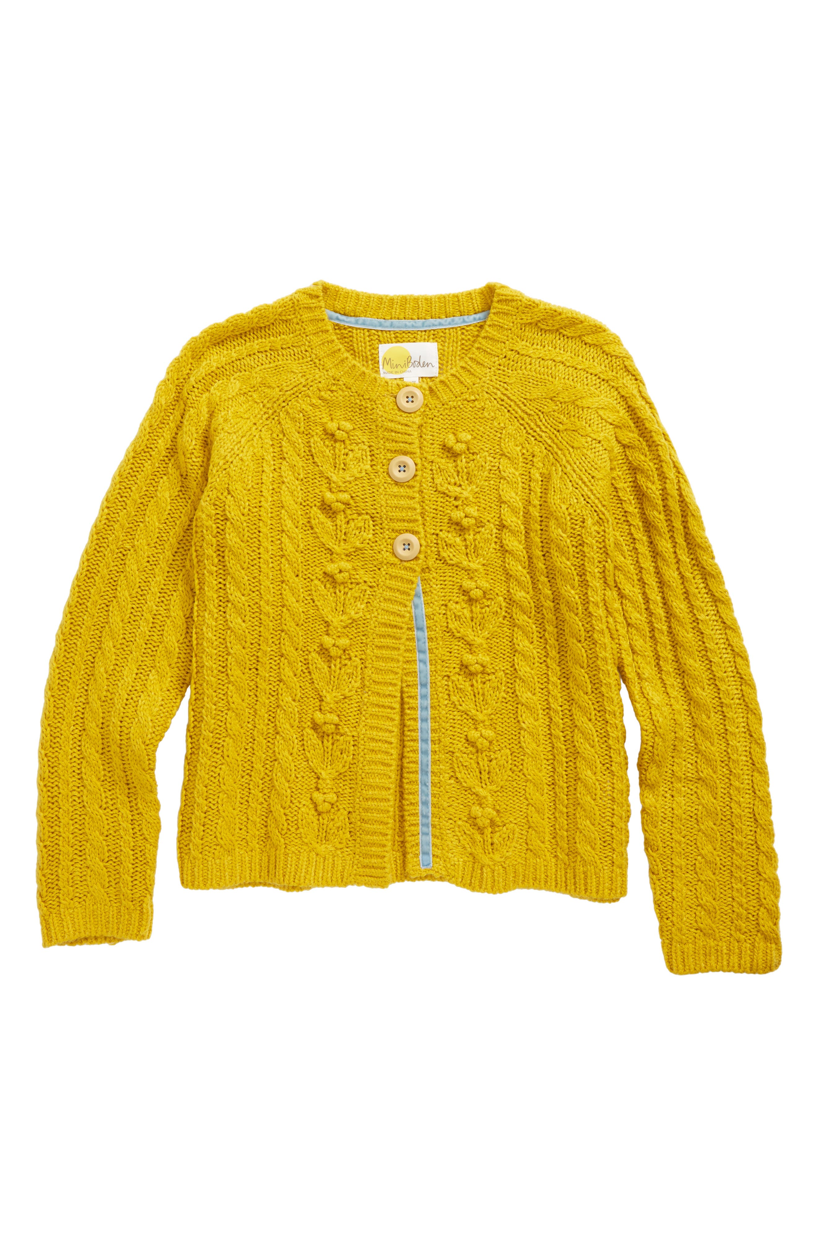 Cable Knit Cardigan,                             Main thumbnail 1, color,                             Saffron Yellow