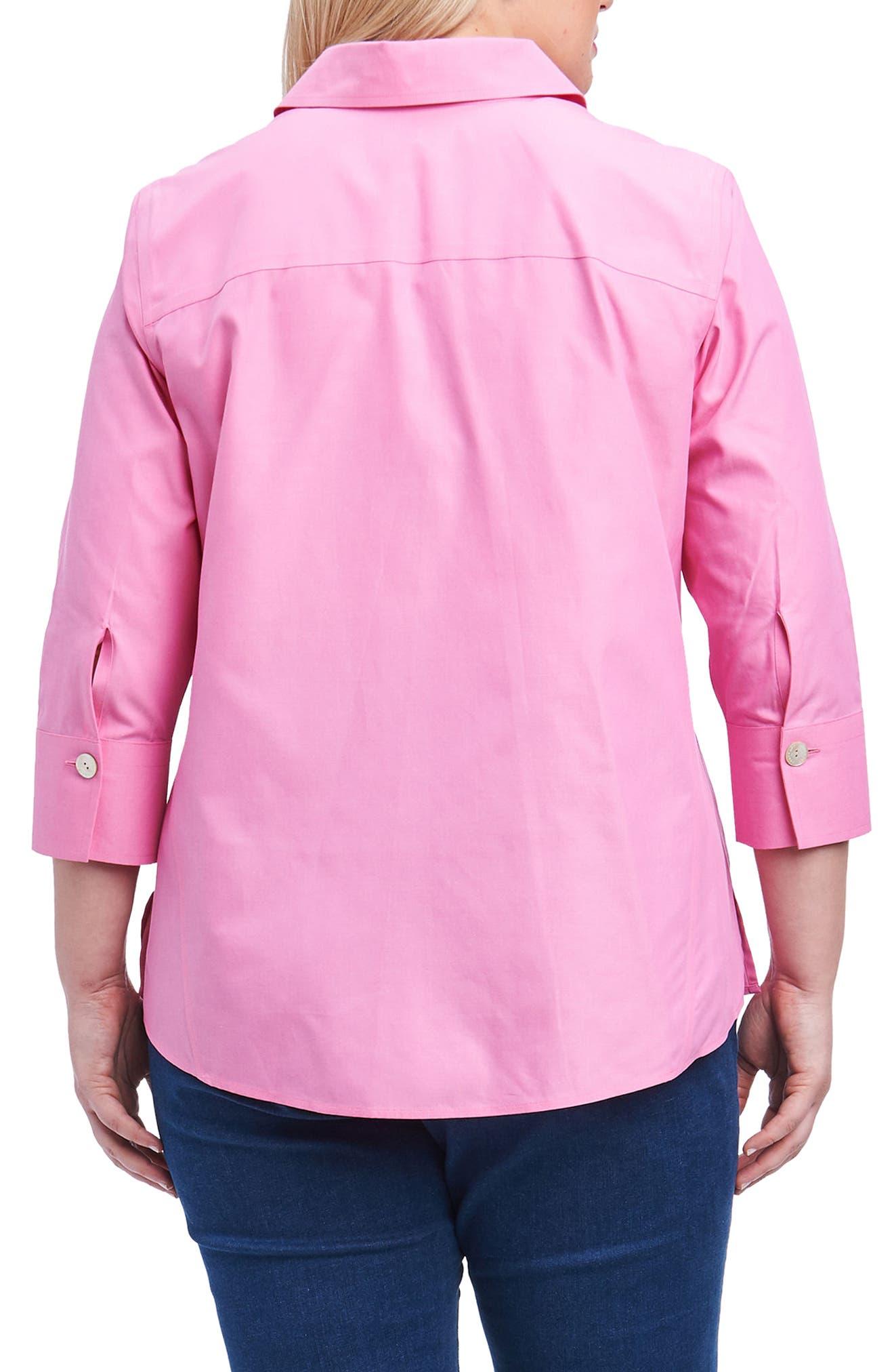 Alternate Image 2  - Foxcroft 'Paige' Non-Iron Cotton Shirt (Plus Size)