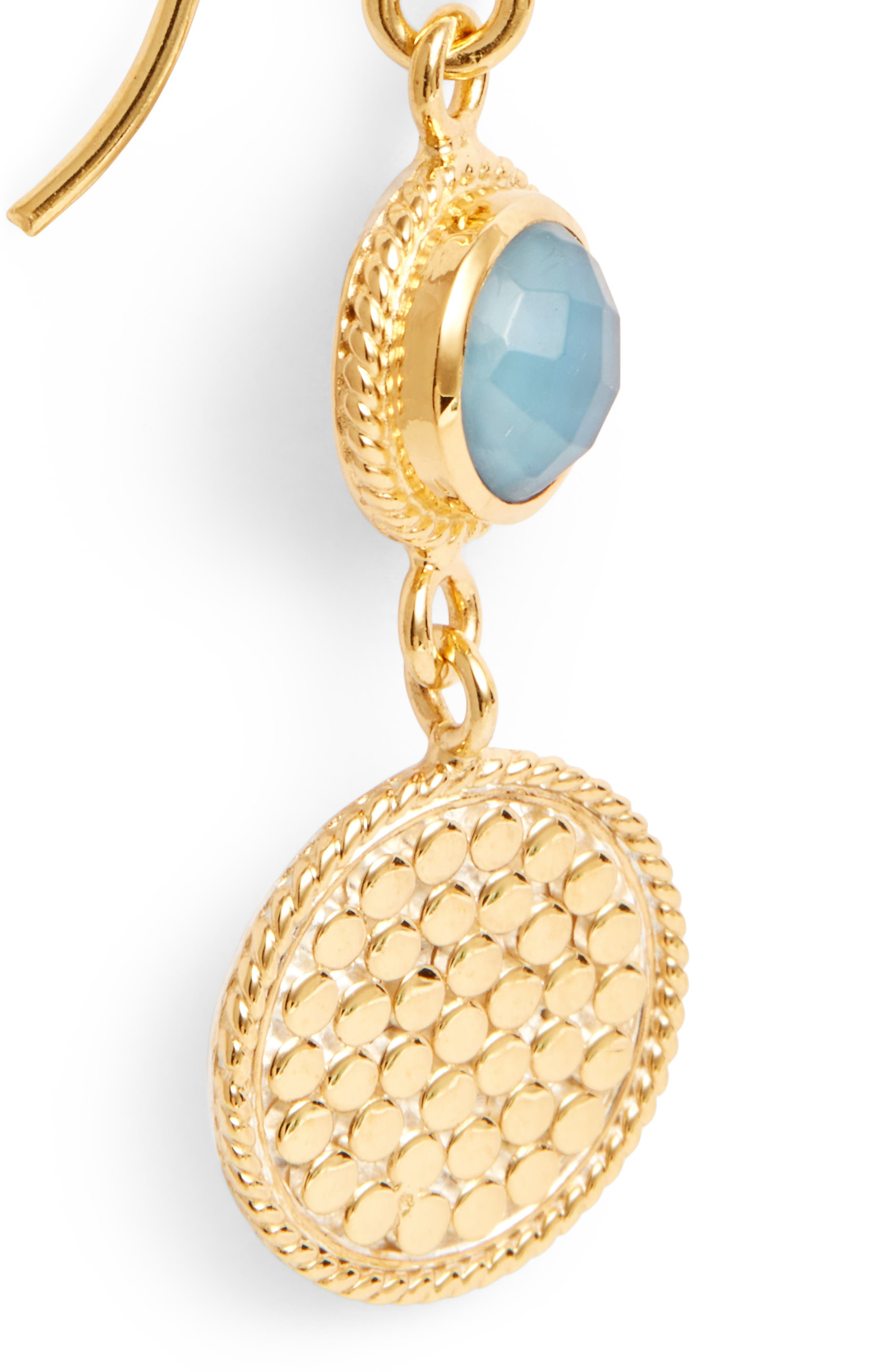 Semiprecious Stone Double Drop Earrings,                             Alternate thumbnail 5, color,                             Gold/ Blue Quartz