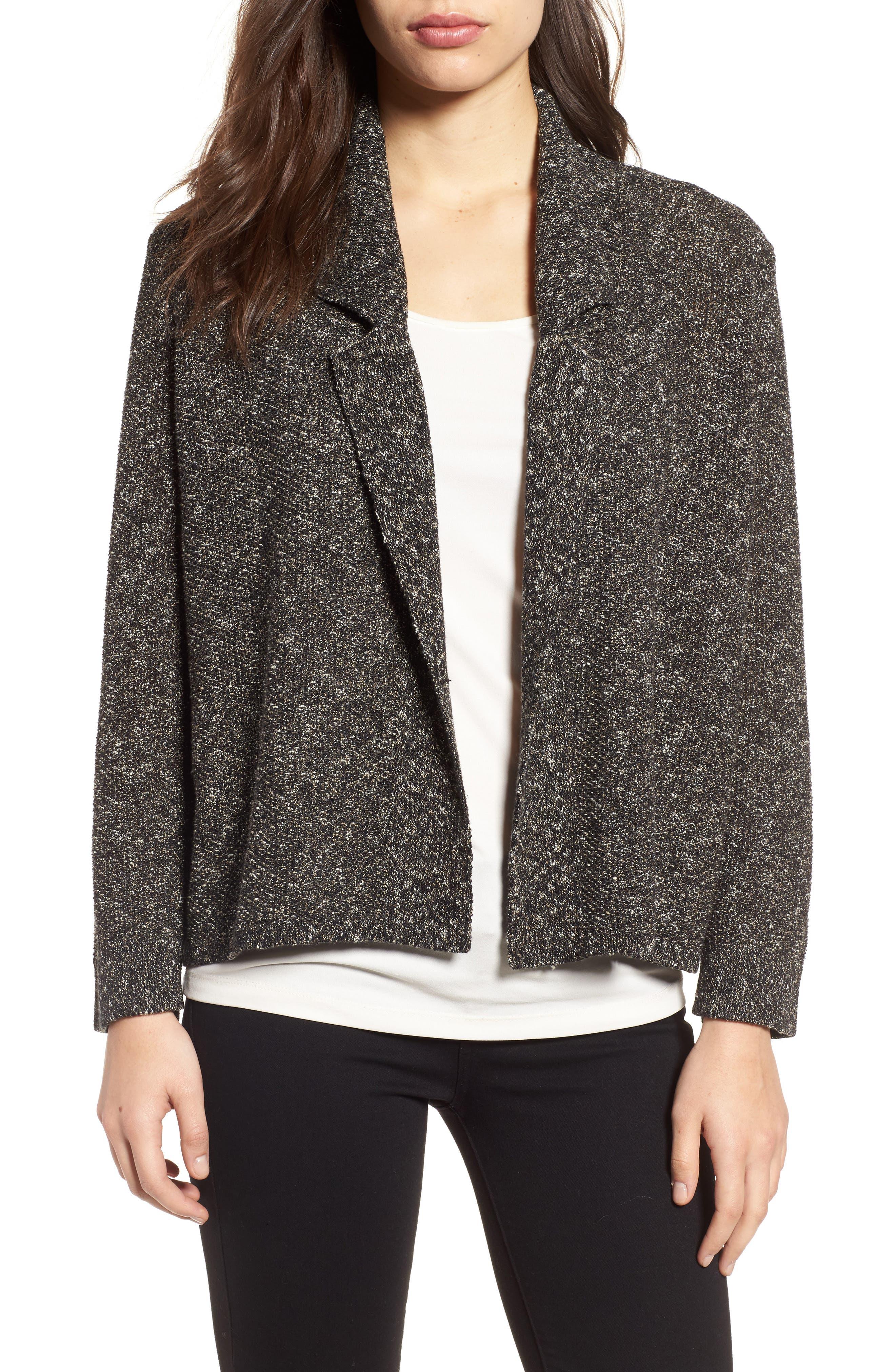 Tweed Sweater Jacket,                             Main thumbnail 1, color,                             Black