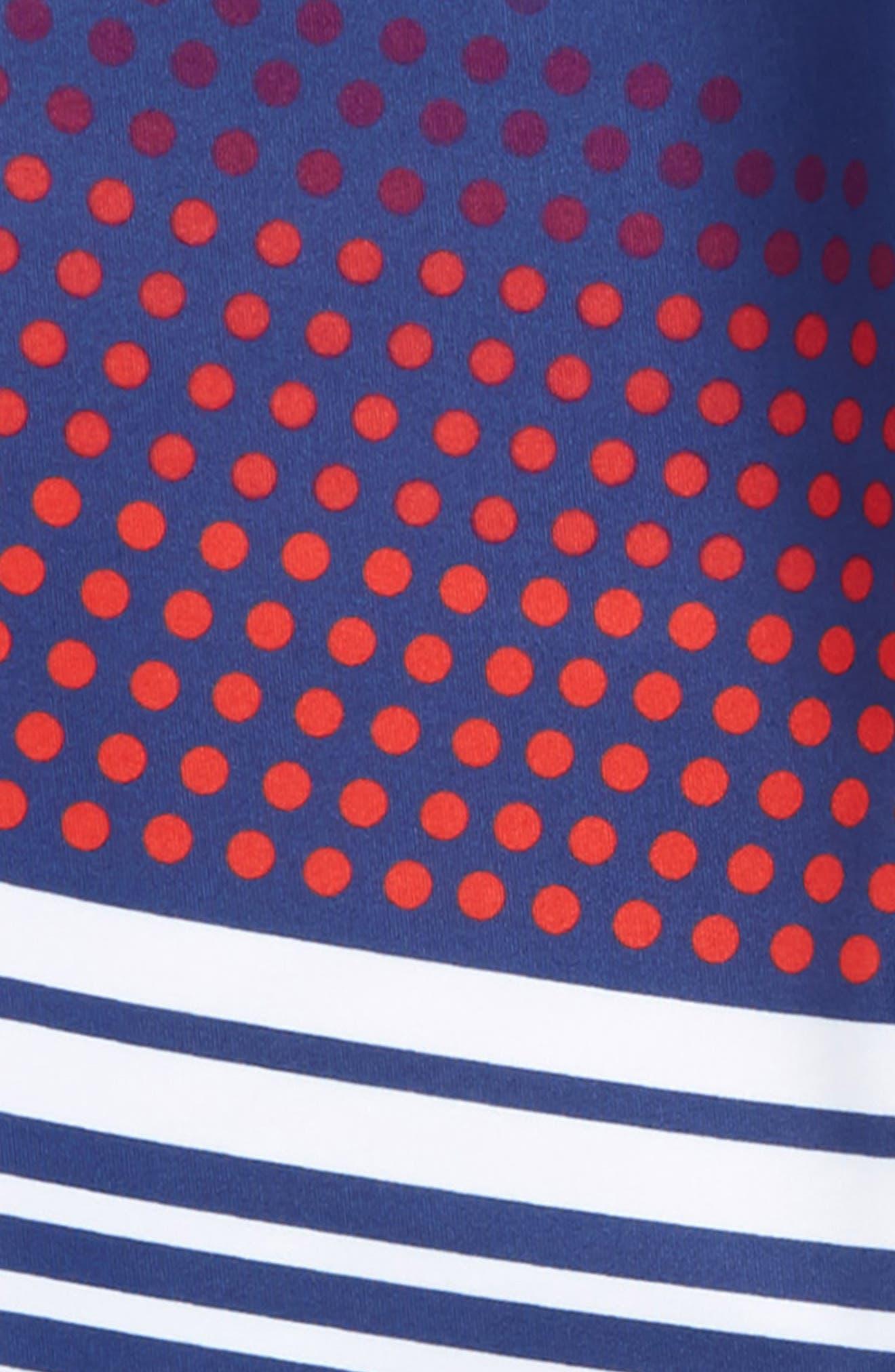 Print High Waist Leggings,                             Alternate thumbnail 2, color,                             Blue Depths- White Stripes