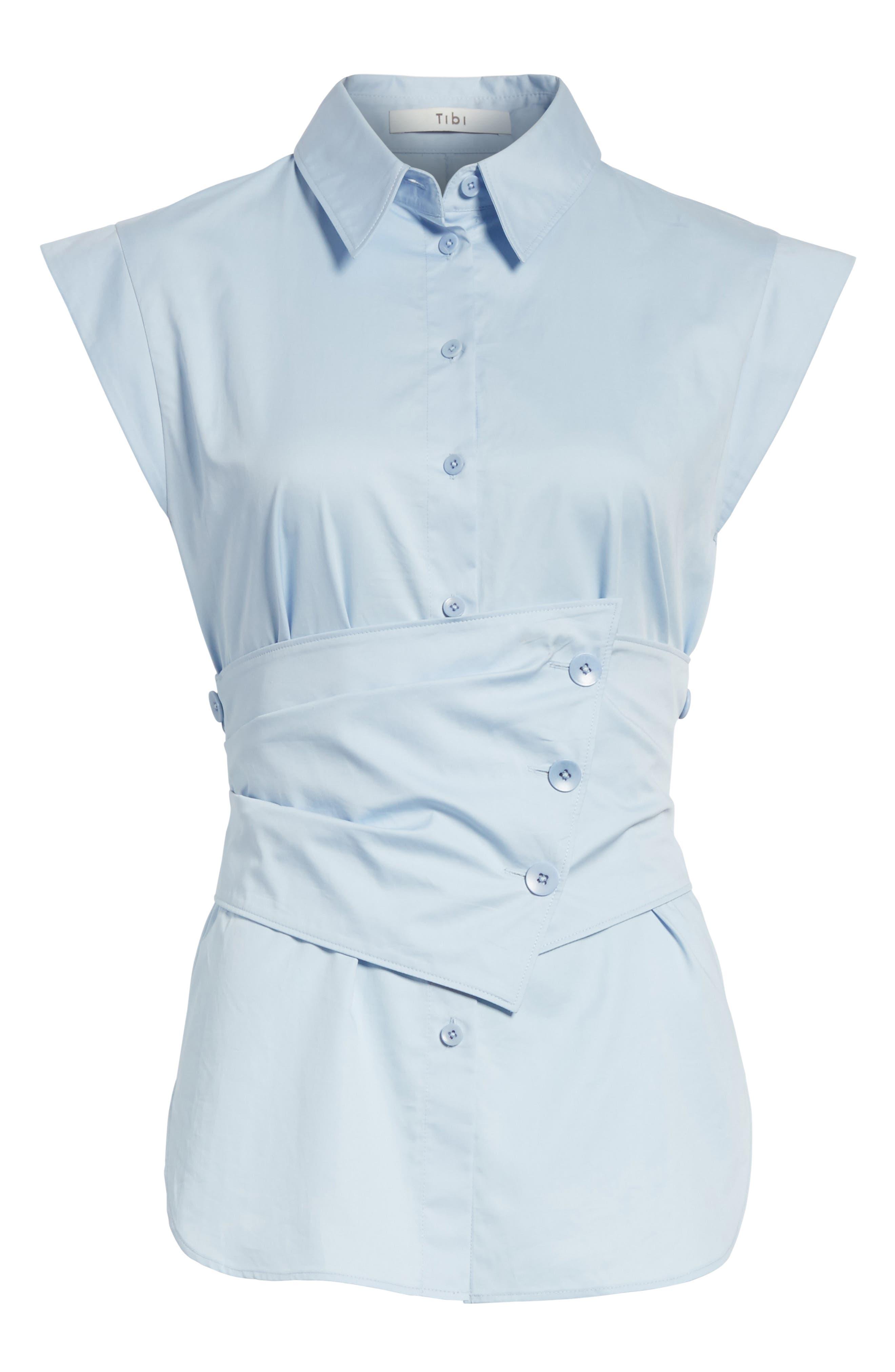 Cap Sleeve Corset Shirt,                             Alternate thumbnail 6, color,                             Morning Blue