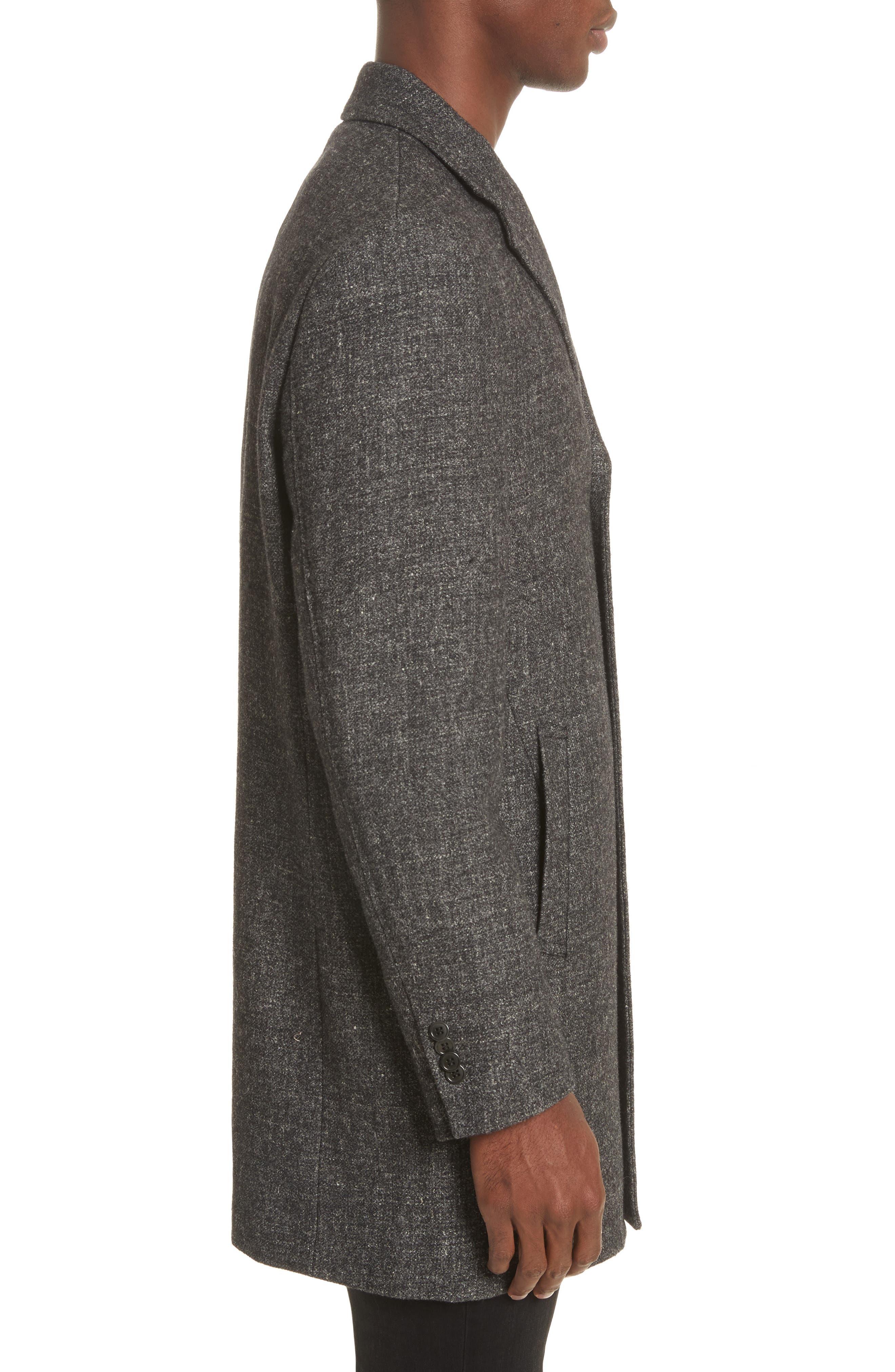 Walsh Wool & Linen Topcoat,                             Alternate thumbnail 3, color,                             Black/ Grey