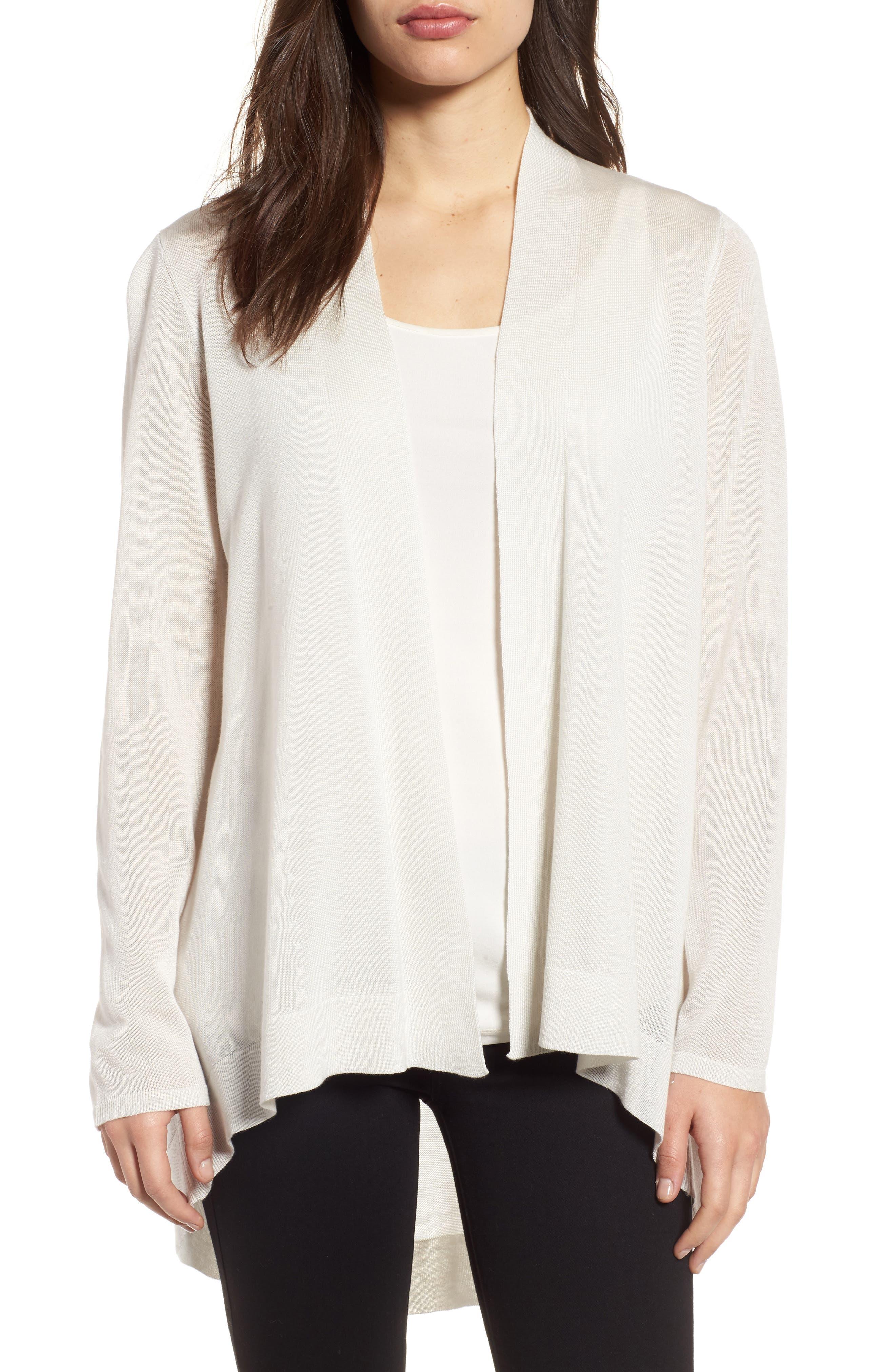 Main Image - Eileen Fisher Tencel® & Merino Wool Shaped Cardigan