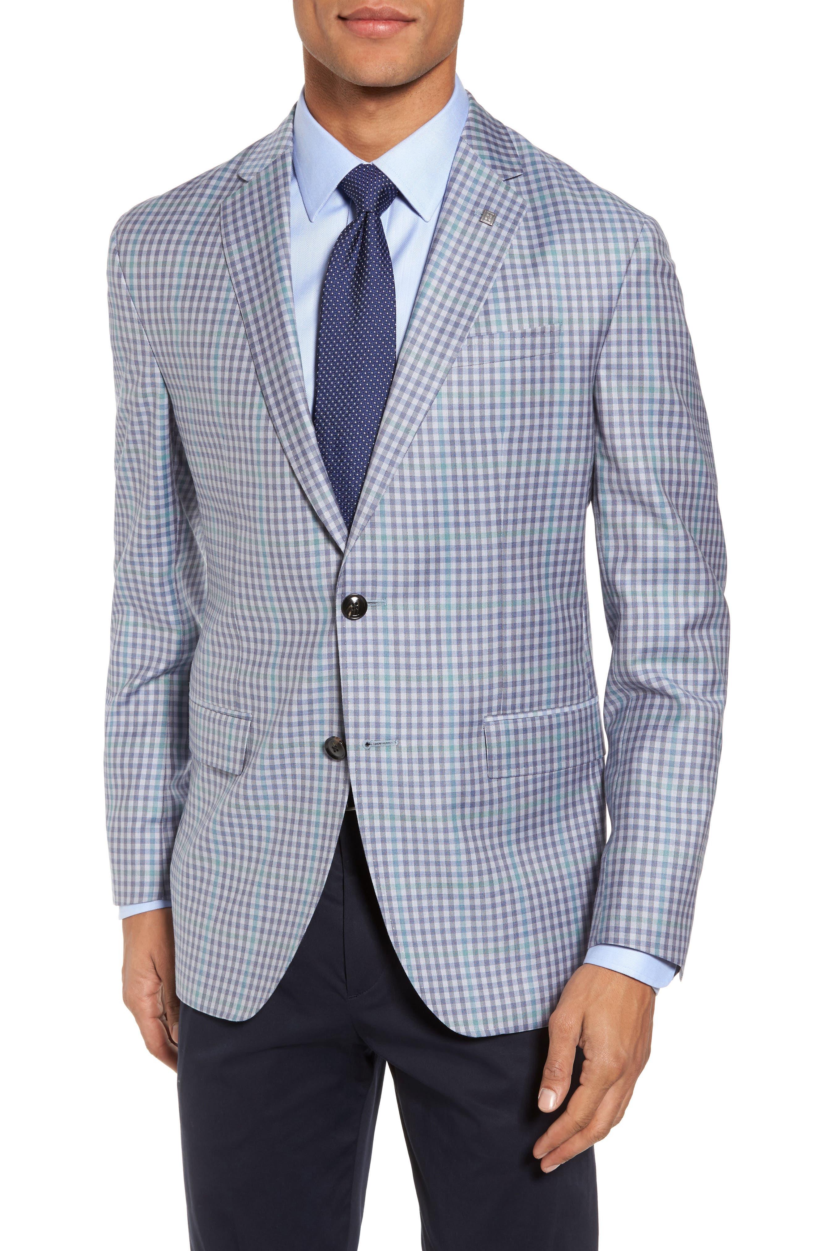 Konan Trim Fit Check Wool Sport Coat,                         Main,                         color, Blue Grey Green Ck