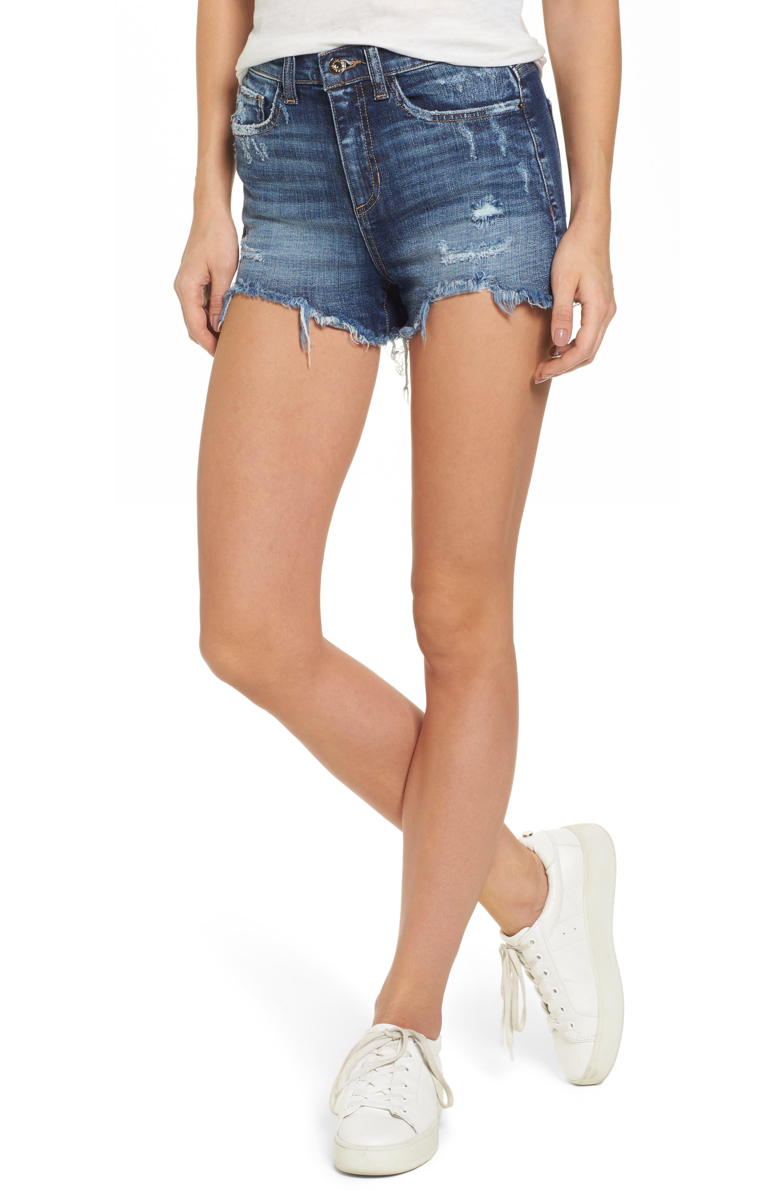 High Rise Fray Ripped Cutoff Shorts,                         Main,                         color, Medium
