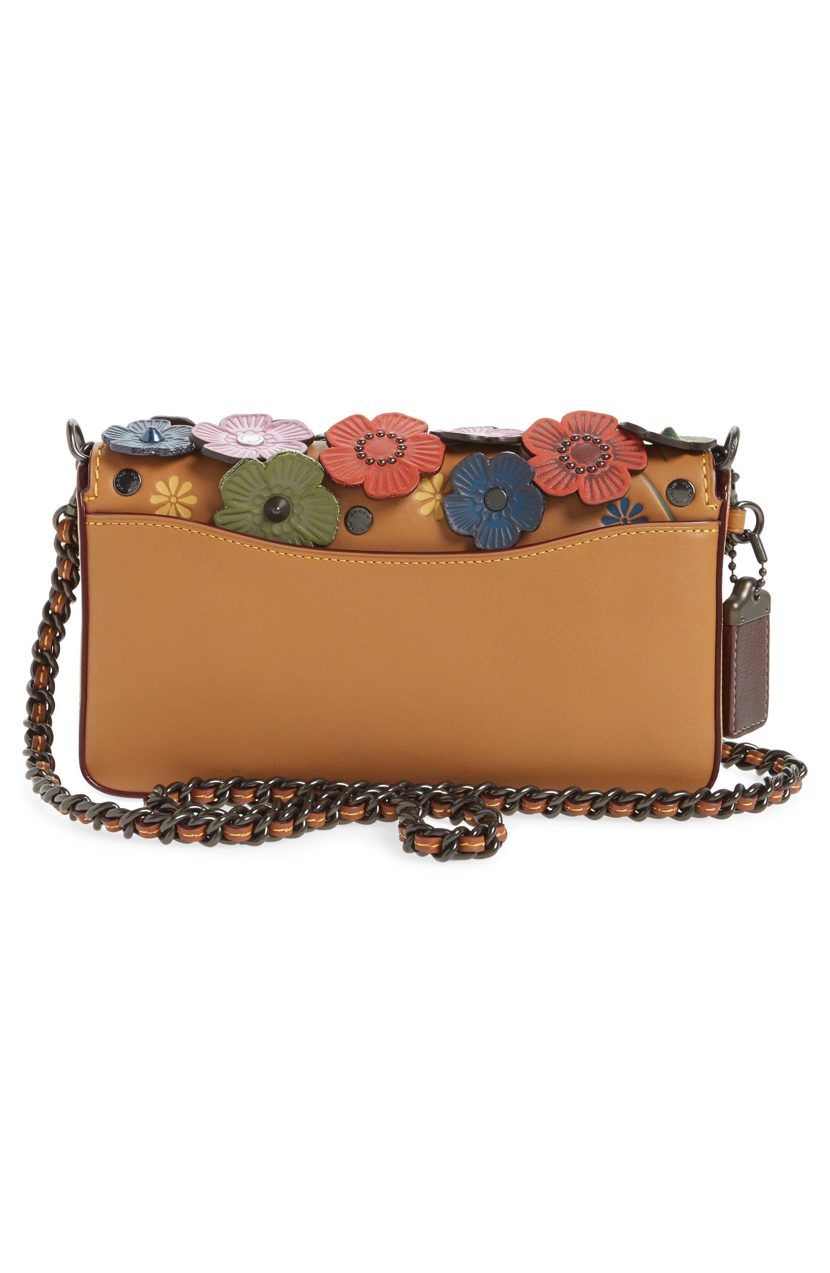 'Dinky' Flower Appliqué Leather Crossbody Bag,                             Alternate thumbnail 3, color,                             Rainbow