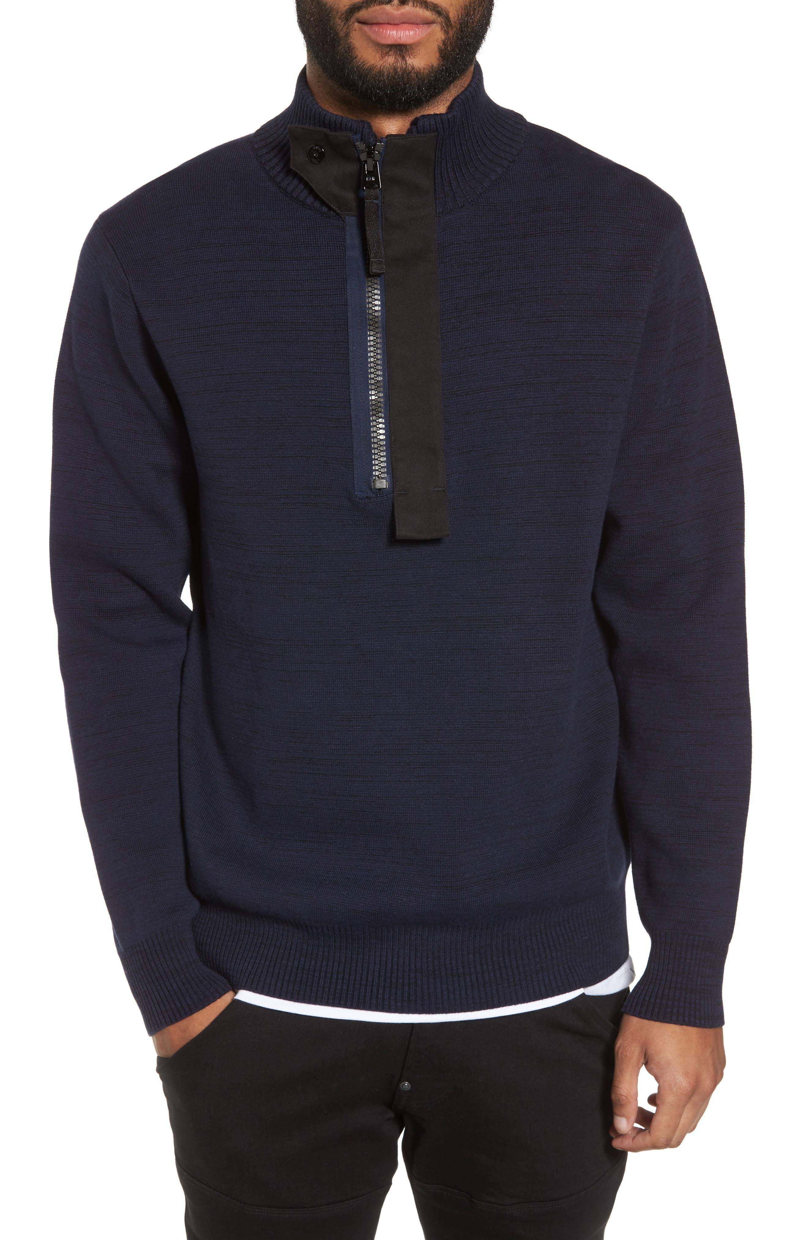 Empral Half-Zip Sweater,                             Main thumbnail 1, color,                             Blue/ Dark Black