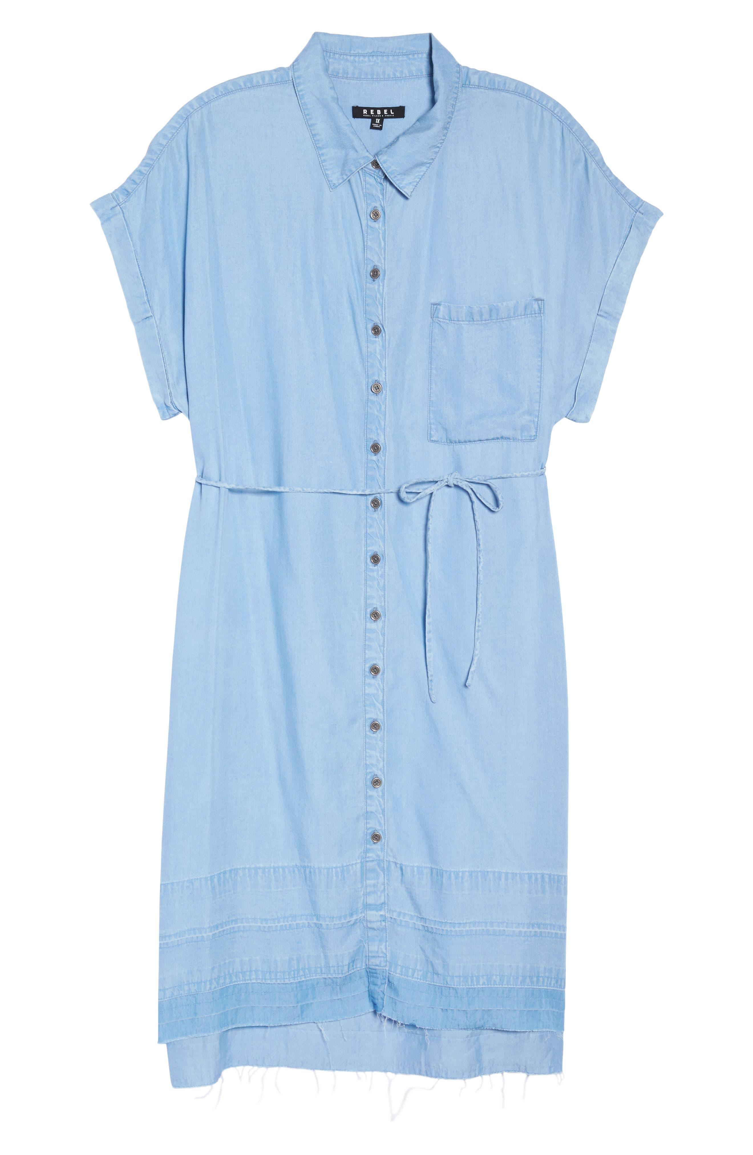 Alternate Image 7  - Rebel Wilson x Angels Chambray Button-Up Shirtdress (Plus Size)