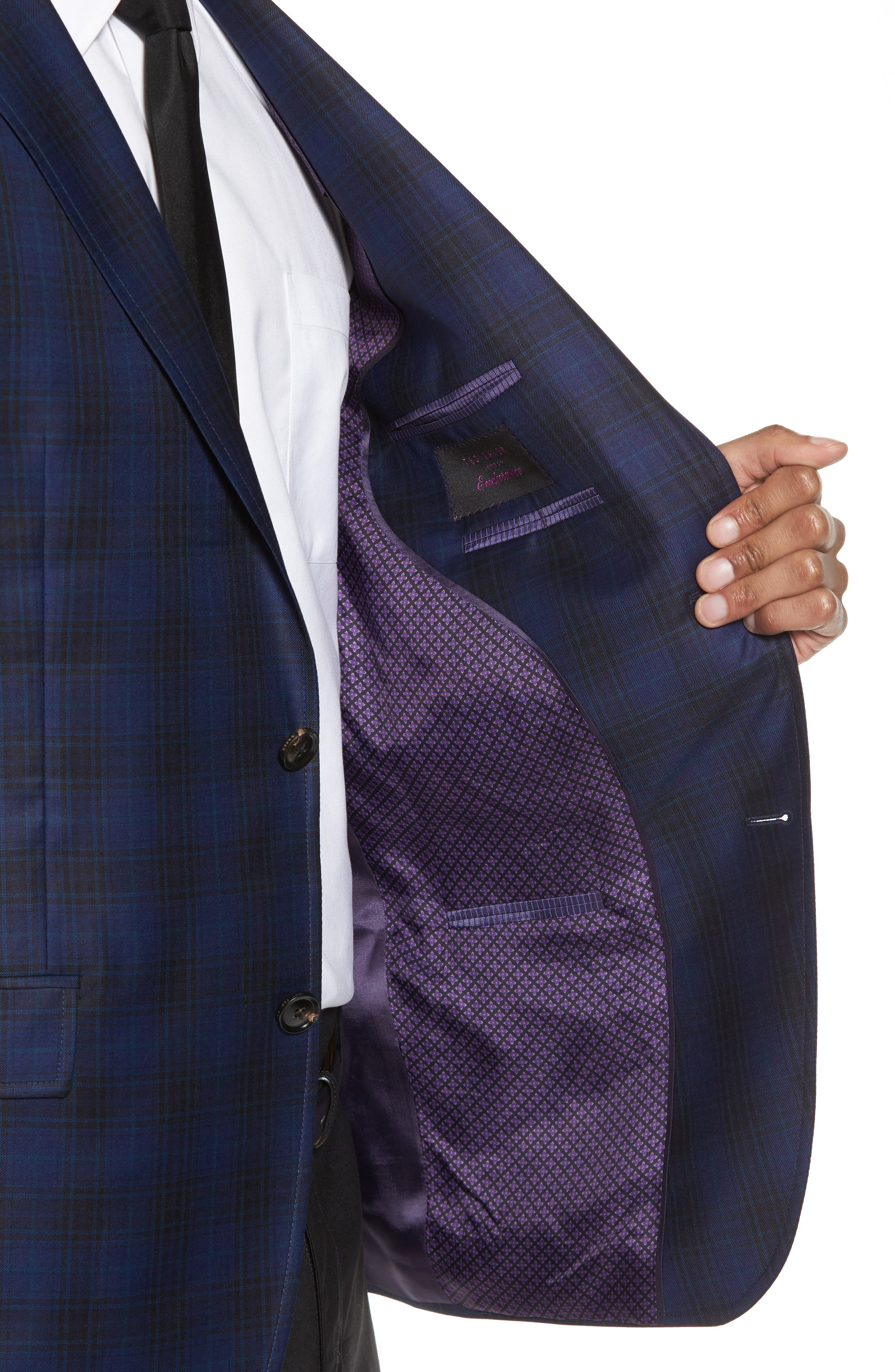 Jay Trim Fit Plaid Wool Sport Coat,                             Alternate thumbnail 4, color,                             Navy