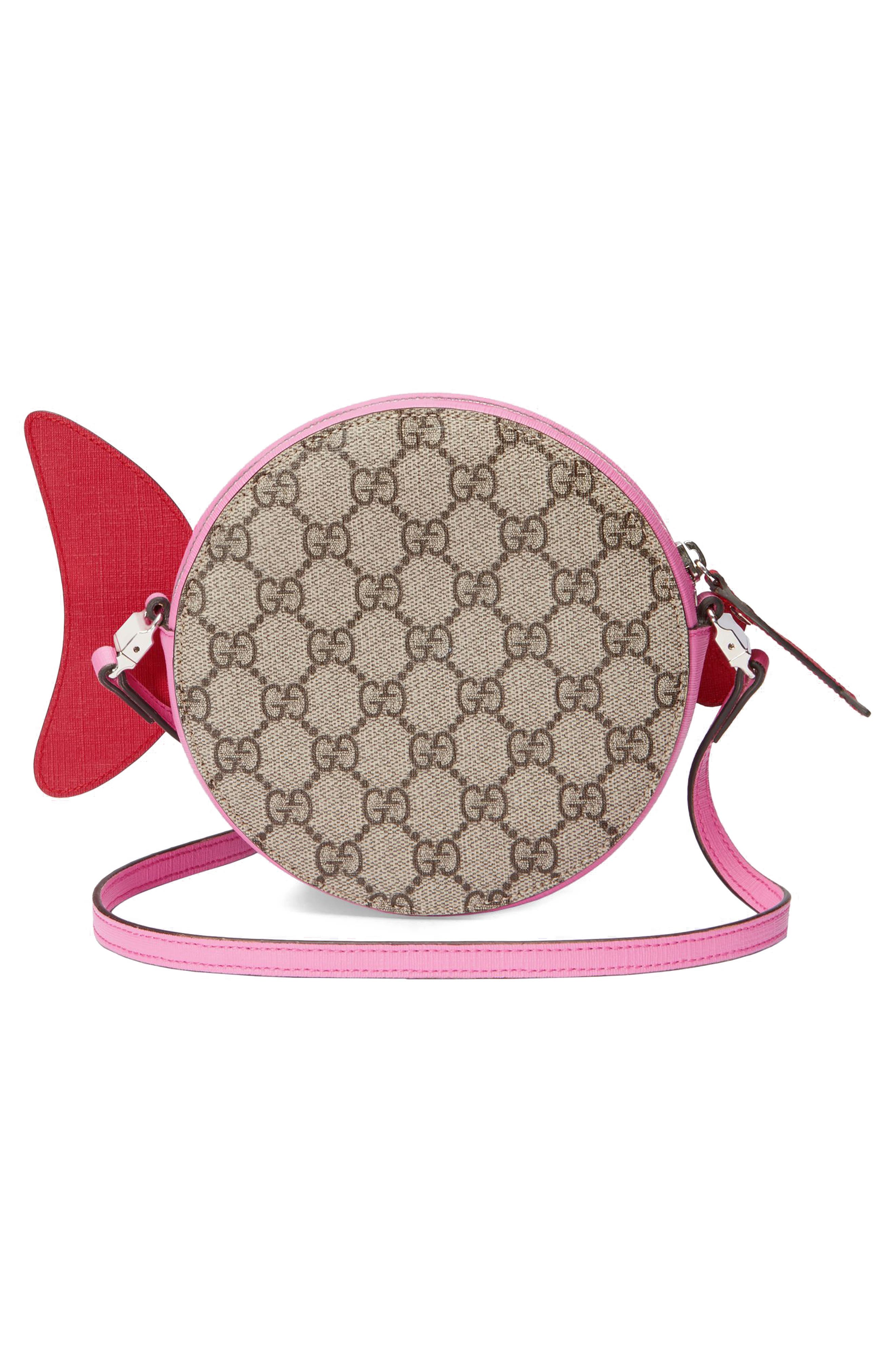 Gucci GG Supreme Fish Canvas Shoulder Bag,                             Alternate thumbnail 2, color,                             Copper/ Rose