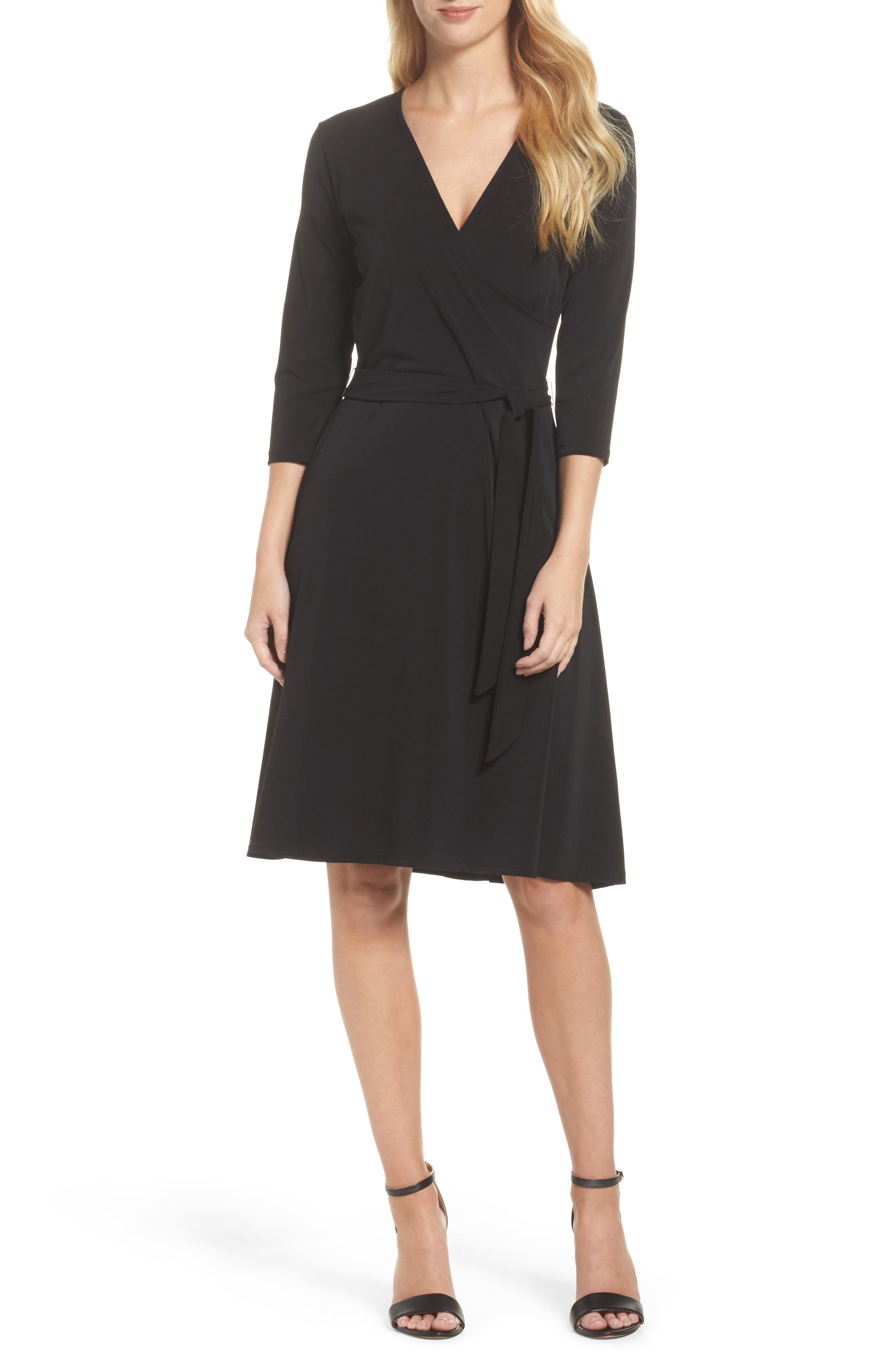Print Jersey Faux Wrap Dress,                             Main thumbnail 1, color,                             Black Crepe