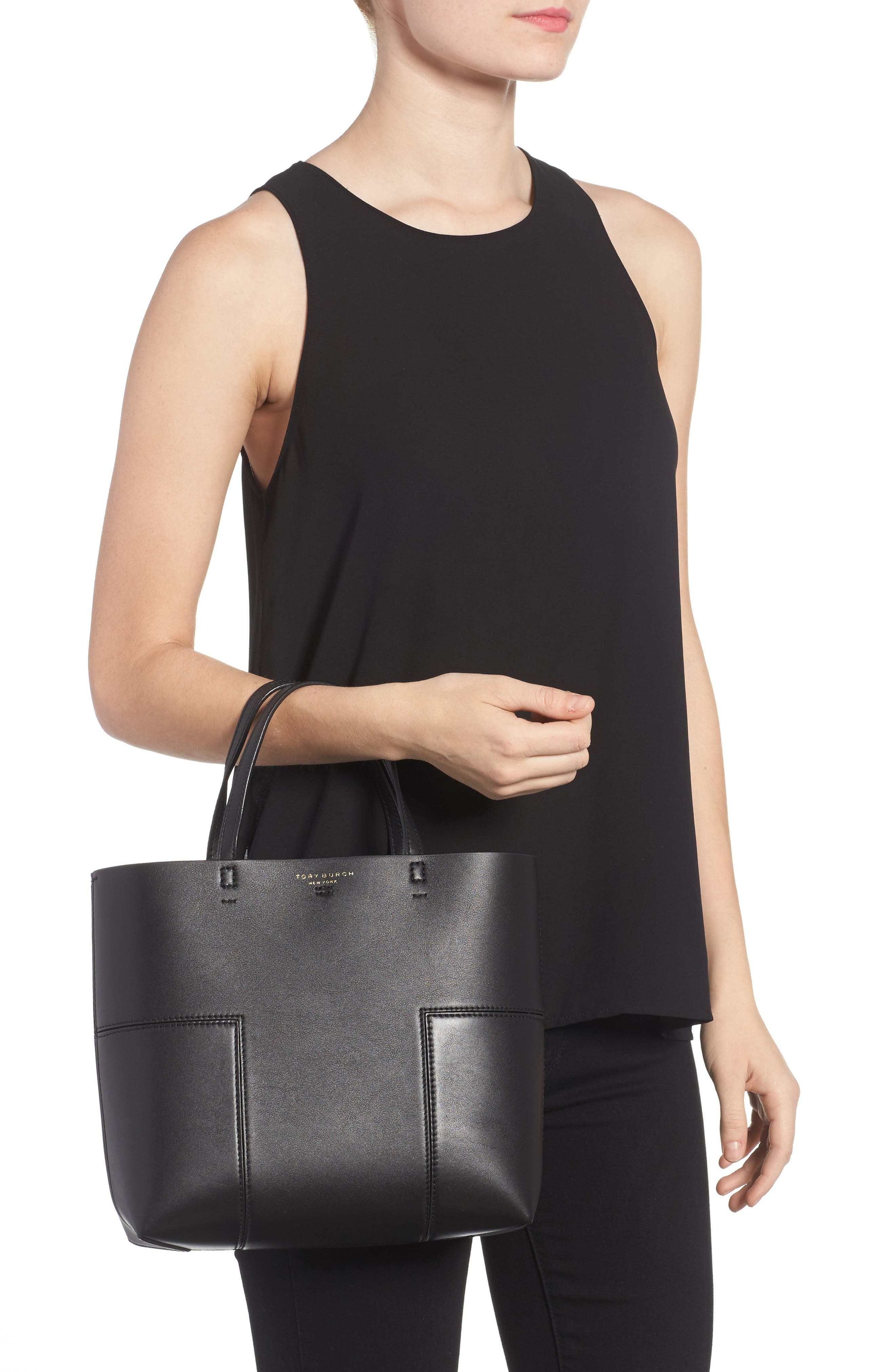 Block-T Mini Leather Tote,                             Alternate thumbnail 2, color,                             Black/Black