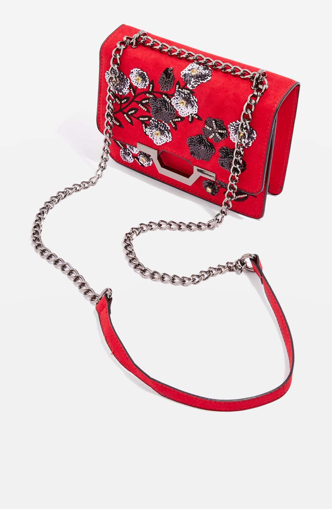 Alternate Image 3  - Topshop Kylie Embellished Faux Suede Crossbody Bag