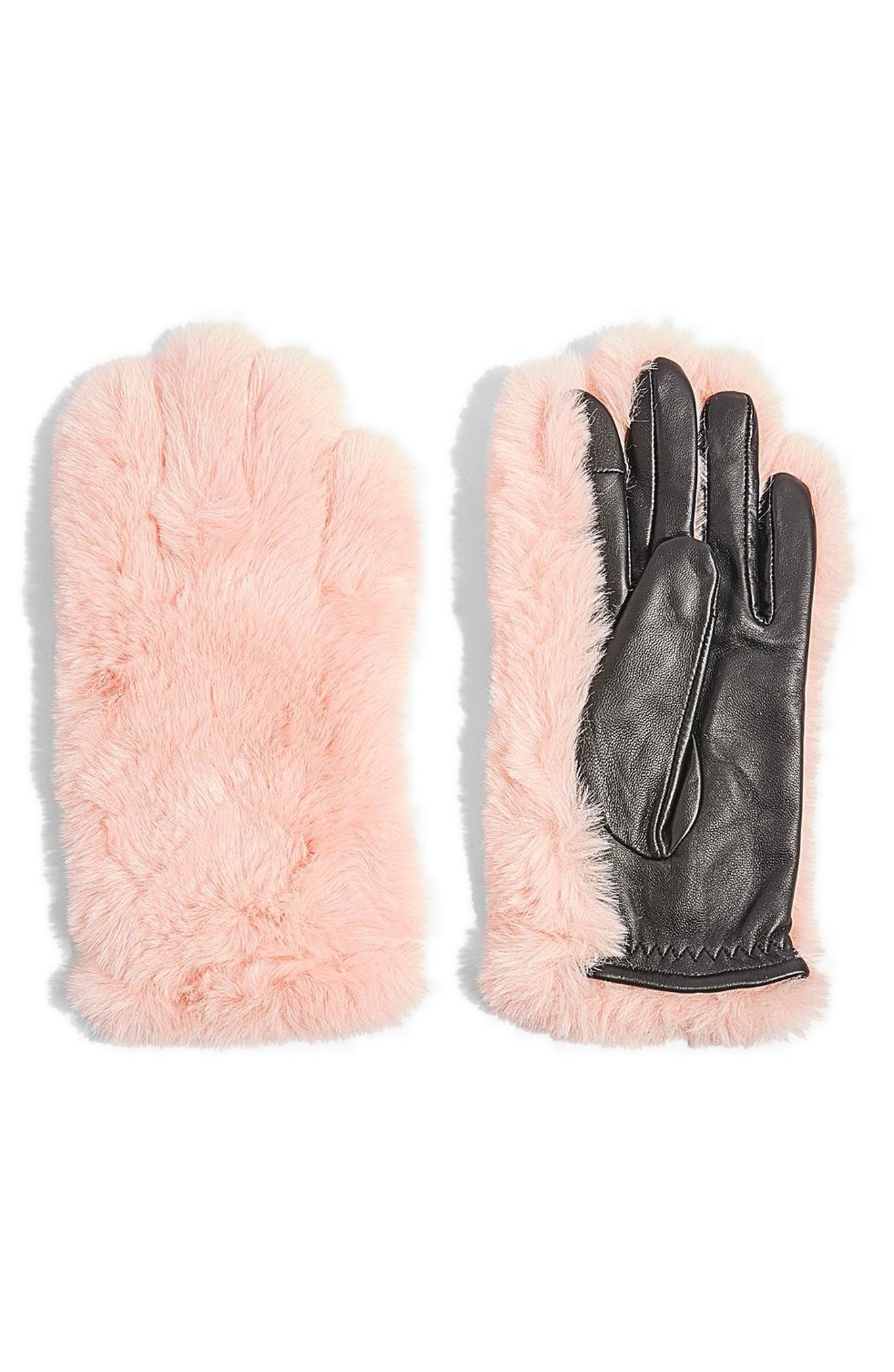 Faux Fur & Leather Gloves,                             Main thumbnail 1, color,                             Pink