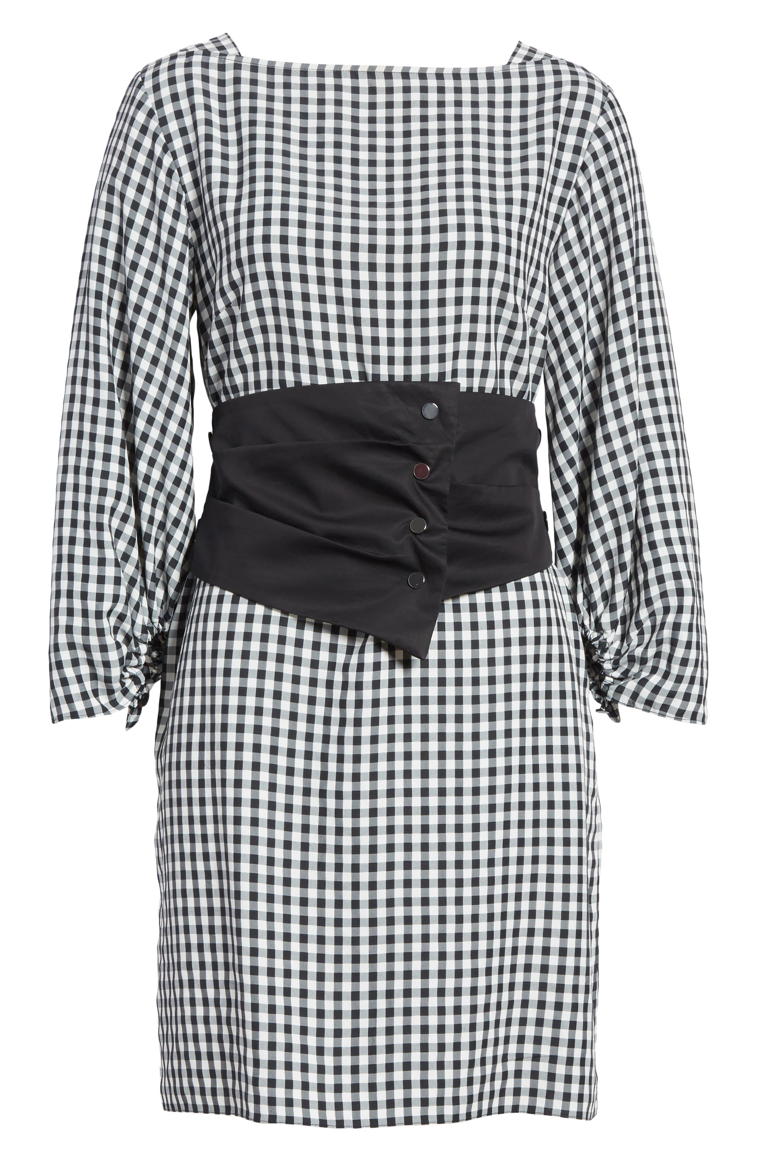 Gingham Corset Dress,                             Alternate thumbnail 6, color,                             Black Multi