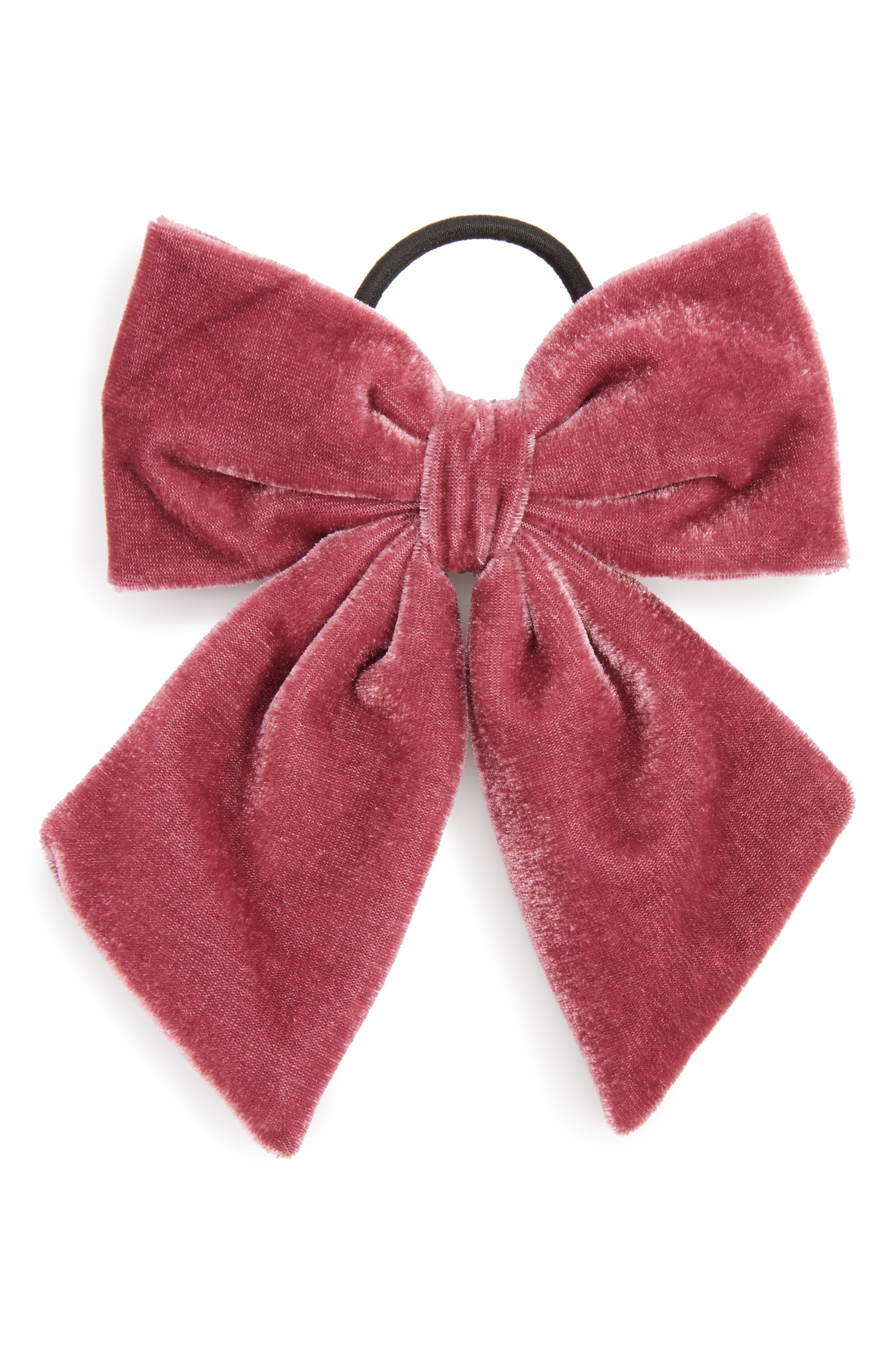 Berry Velvet Bow Ponytail Holder