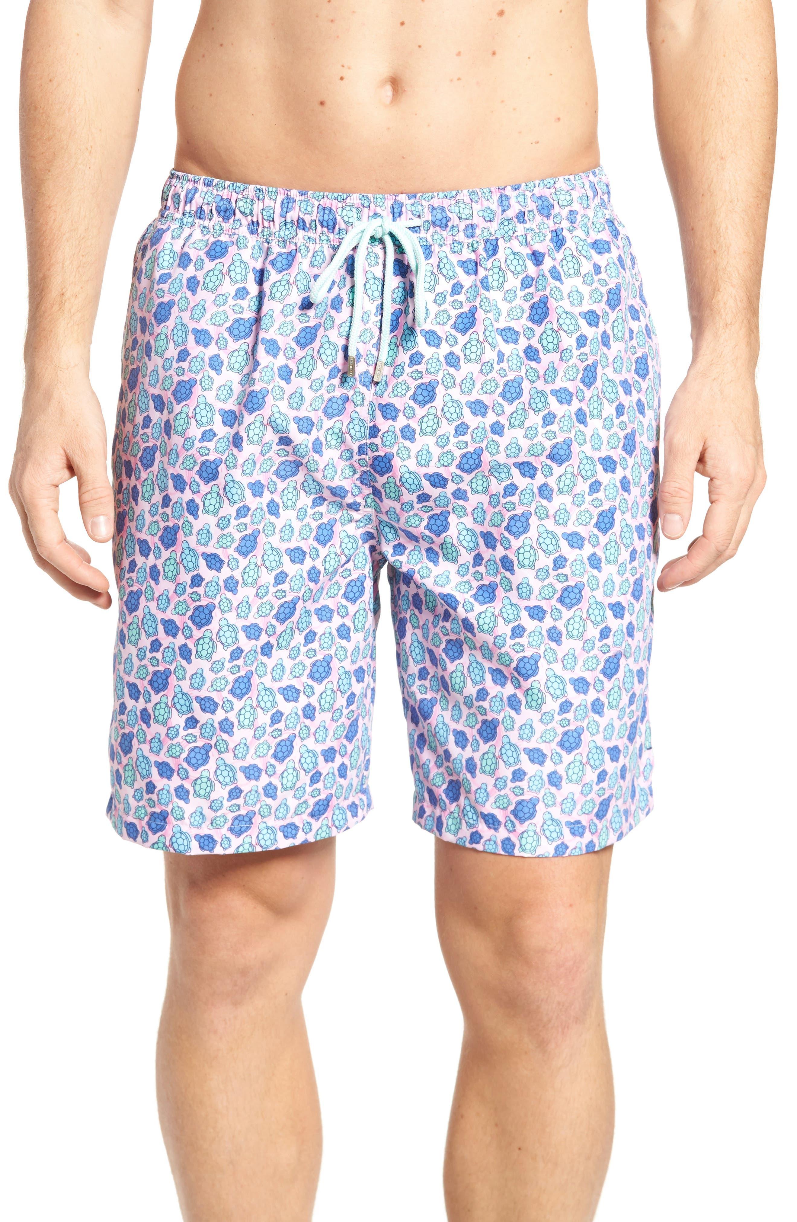 Shelly Turtle Print Swim Shorts,                         Main,                         color, Dusk Pink