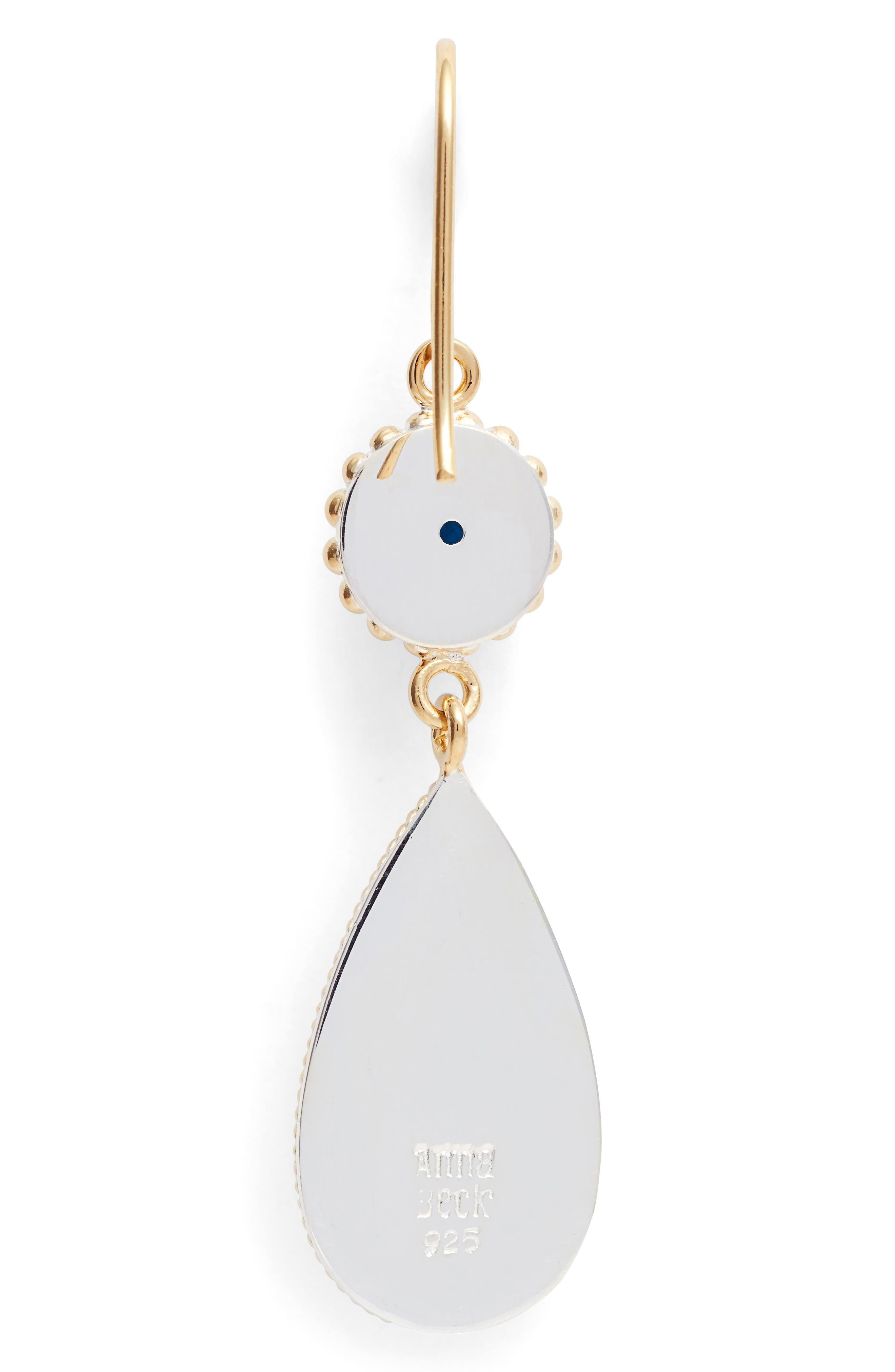 Blue Quartz Double Drop Earrings,                             Alternate thumbnail 3, color,                             Gold/ Blue Quartz