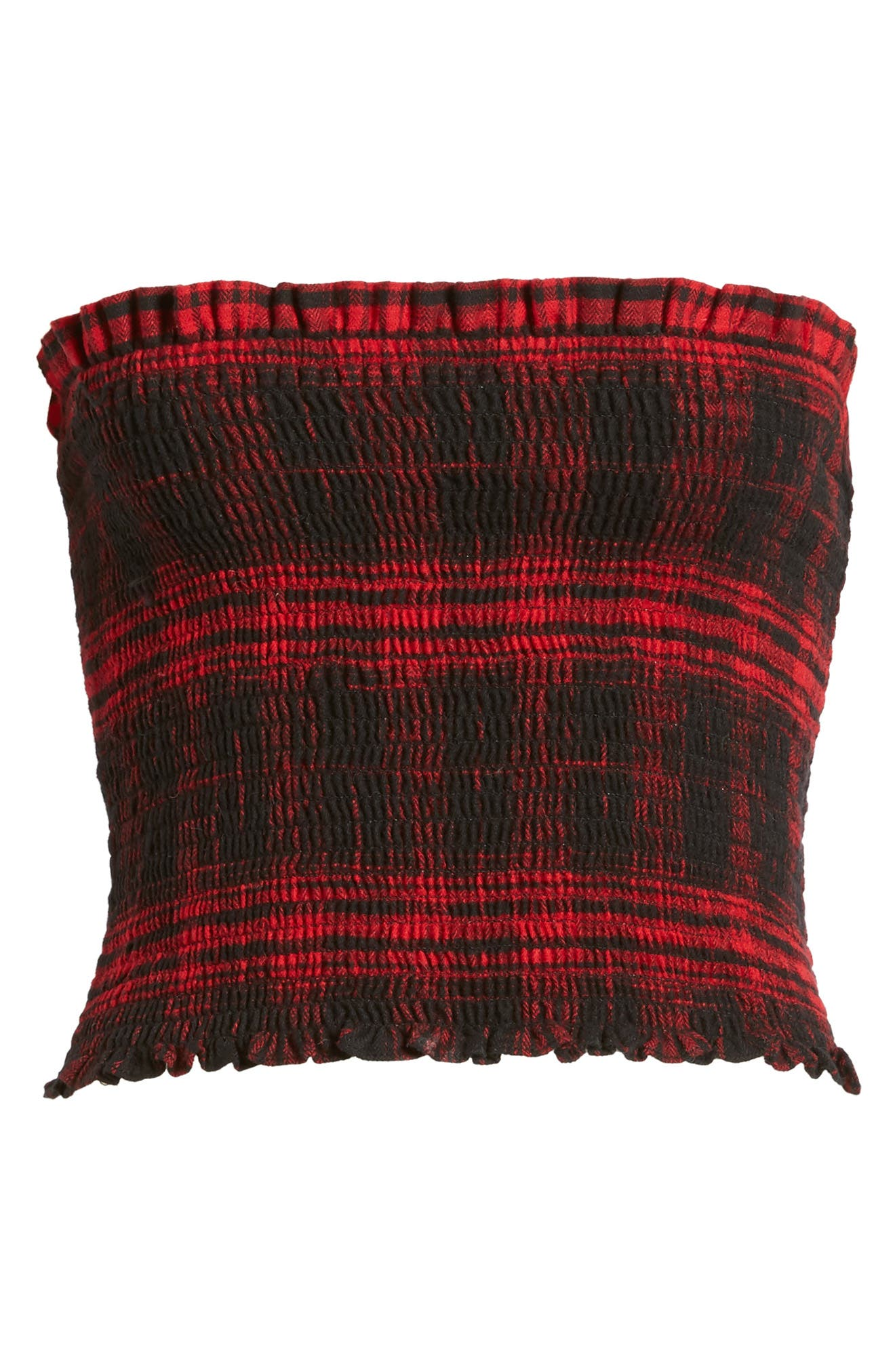 Smocked Crop Top,                             Alternate thumbnail 6, color,                             Red Flannel