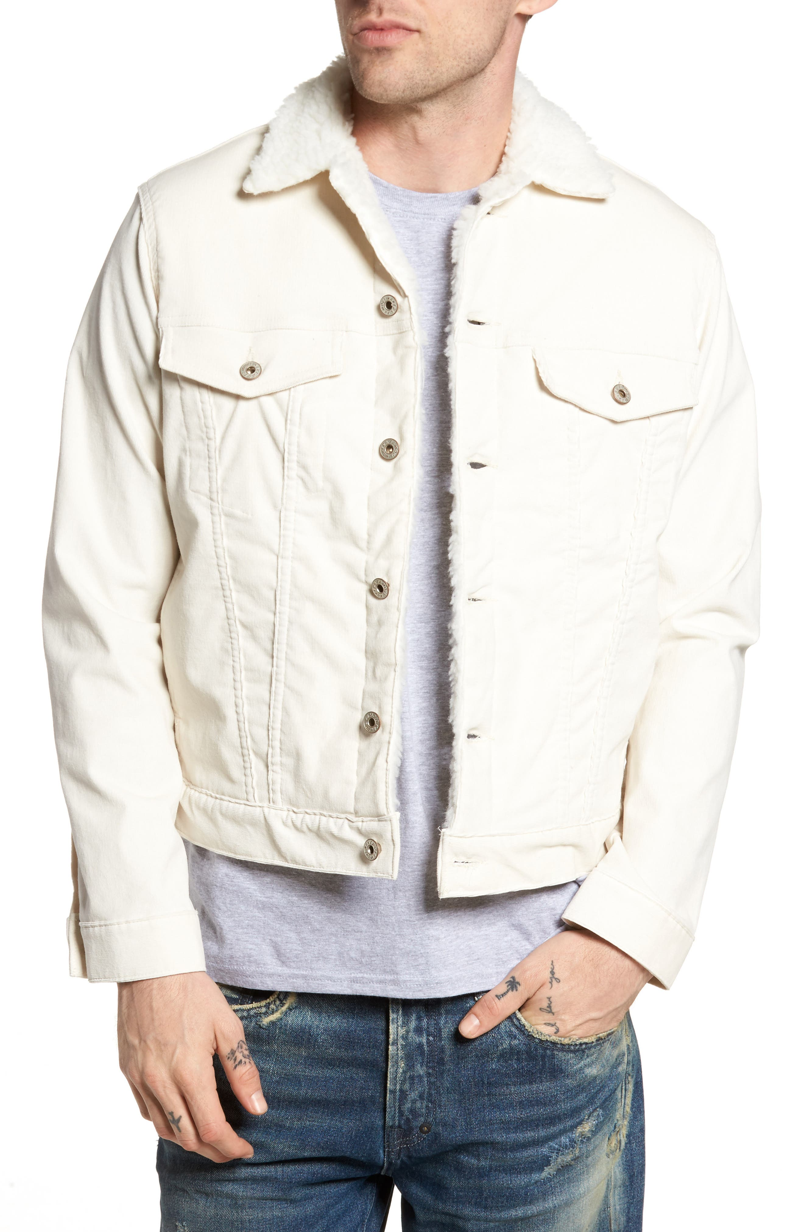 Faux Shearling Lined Denim Jacket,                         Main,                         color, White