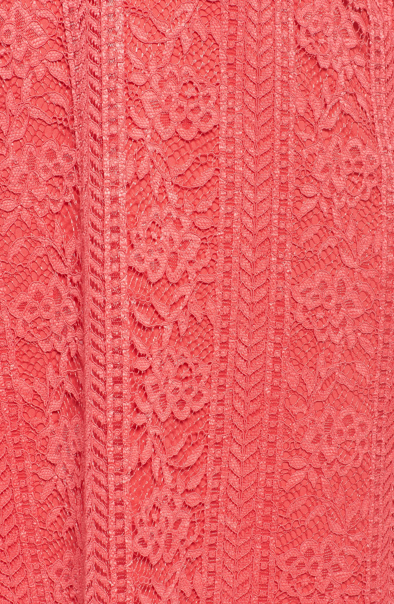 Bell Sleeve Lace Shift Dress,                             Alternate thumbnail 5, color,                             Hot Coral