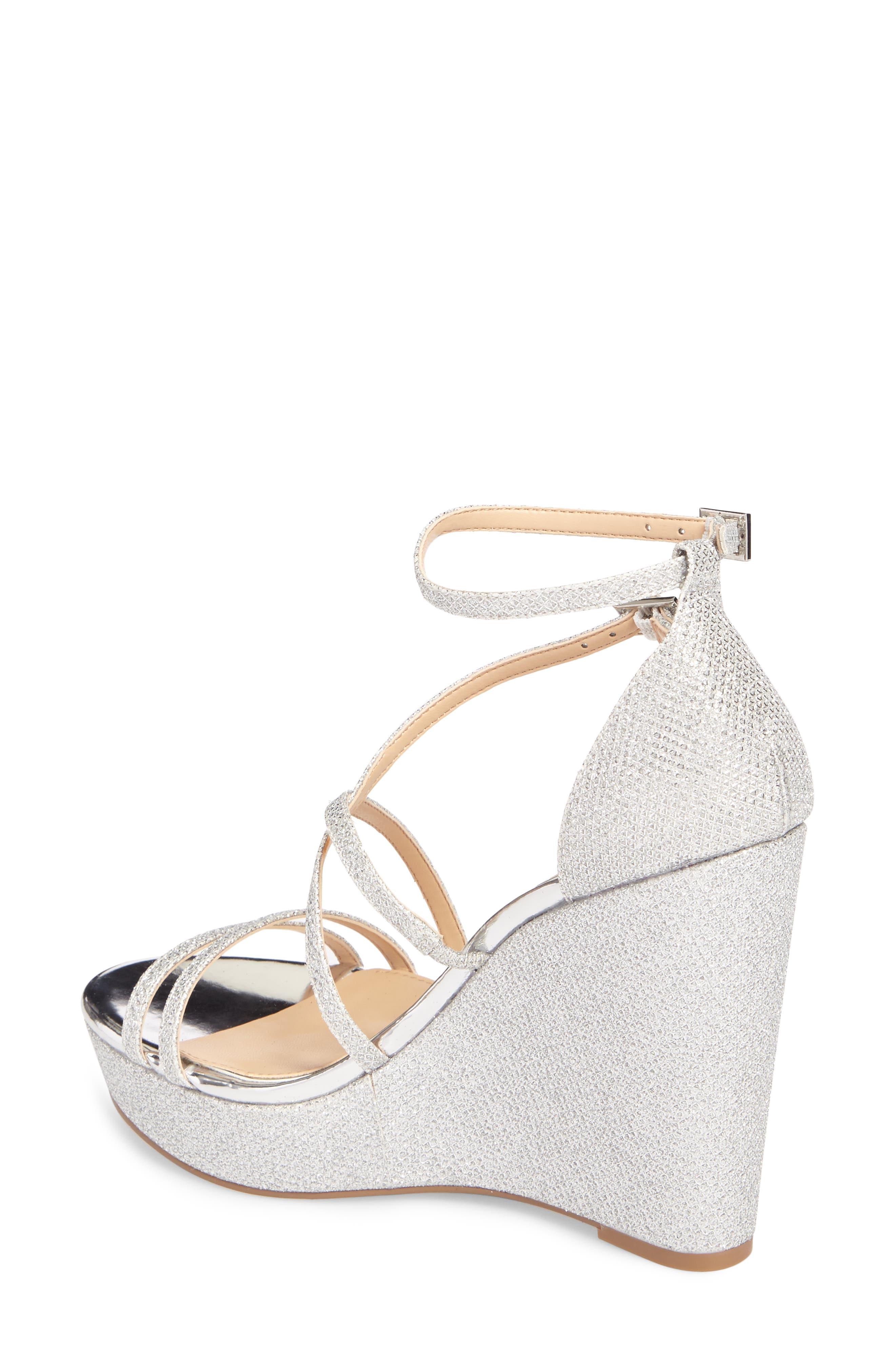 Tatsu Wedge Sandal,                             Alternate thumbnail 2, color,                             Silver Glitter