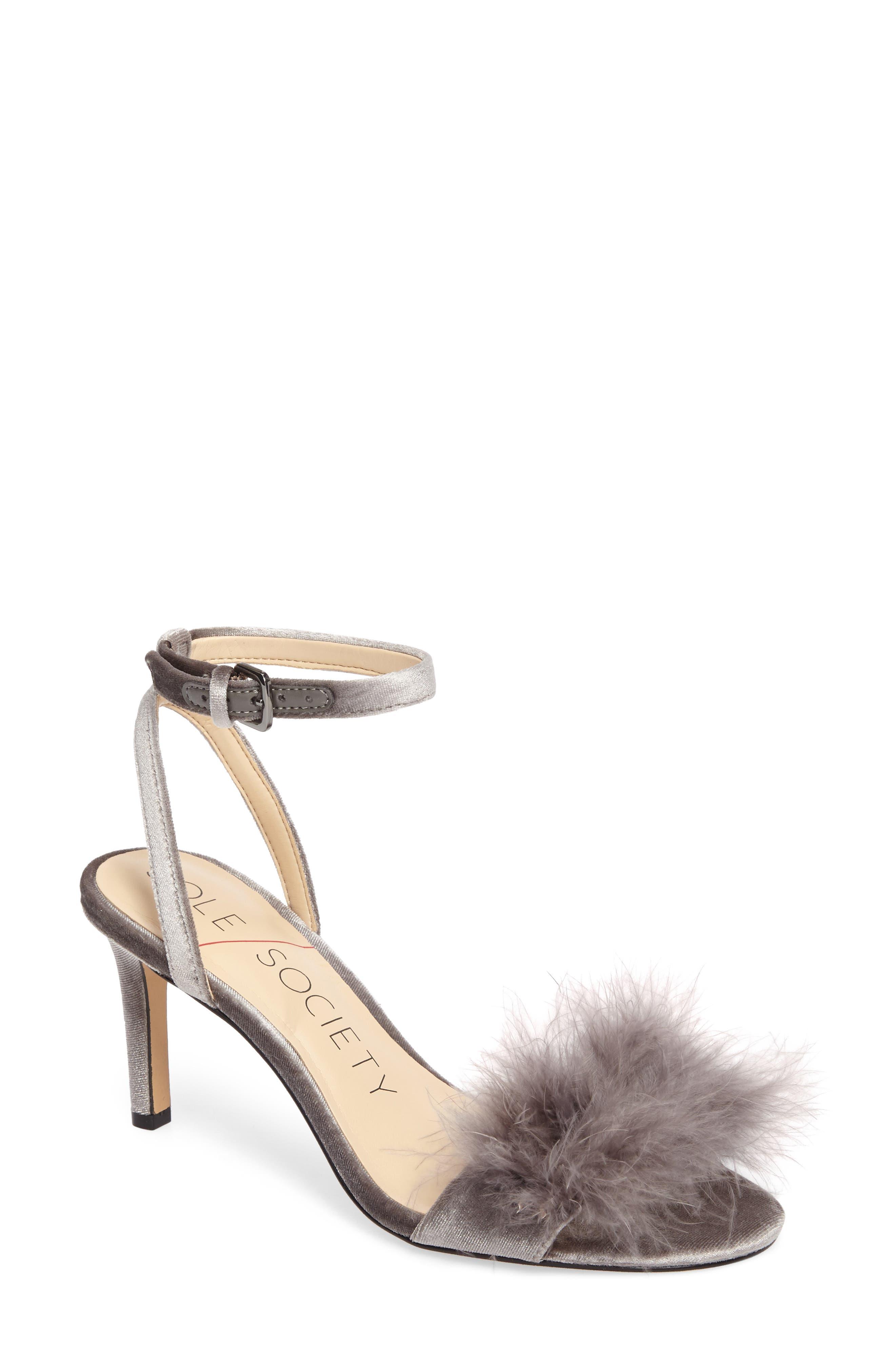 Lindzay Feather Sandal,                             Main thumbnail 1, color,                             Dark Grey
