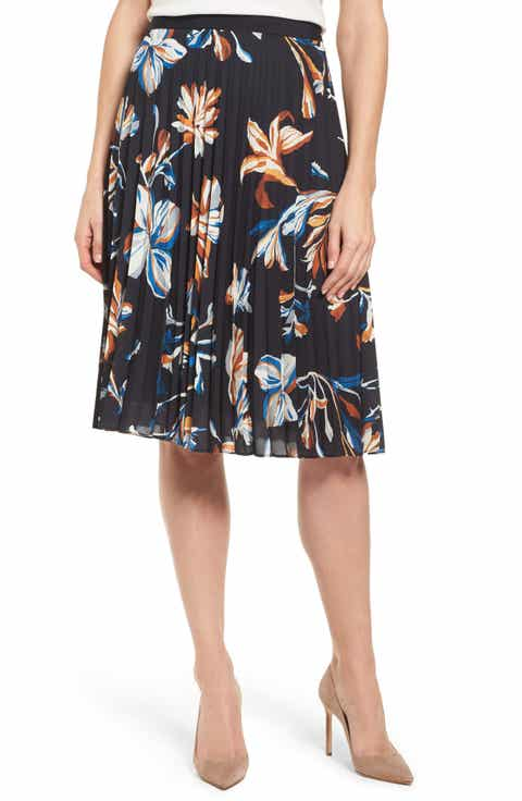 BOSS Viplisa Pleated Floral Skirt