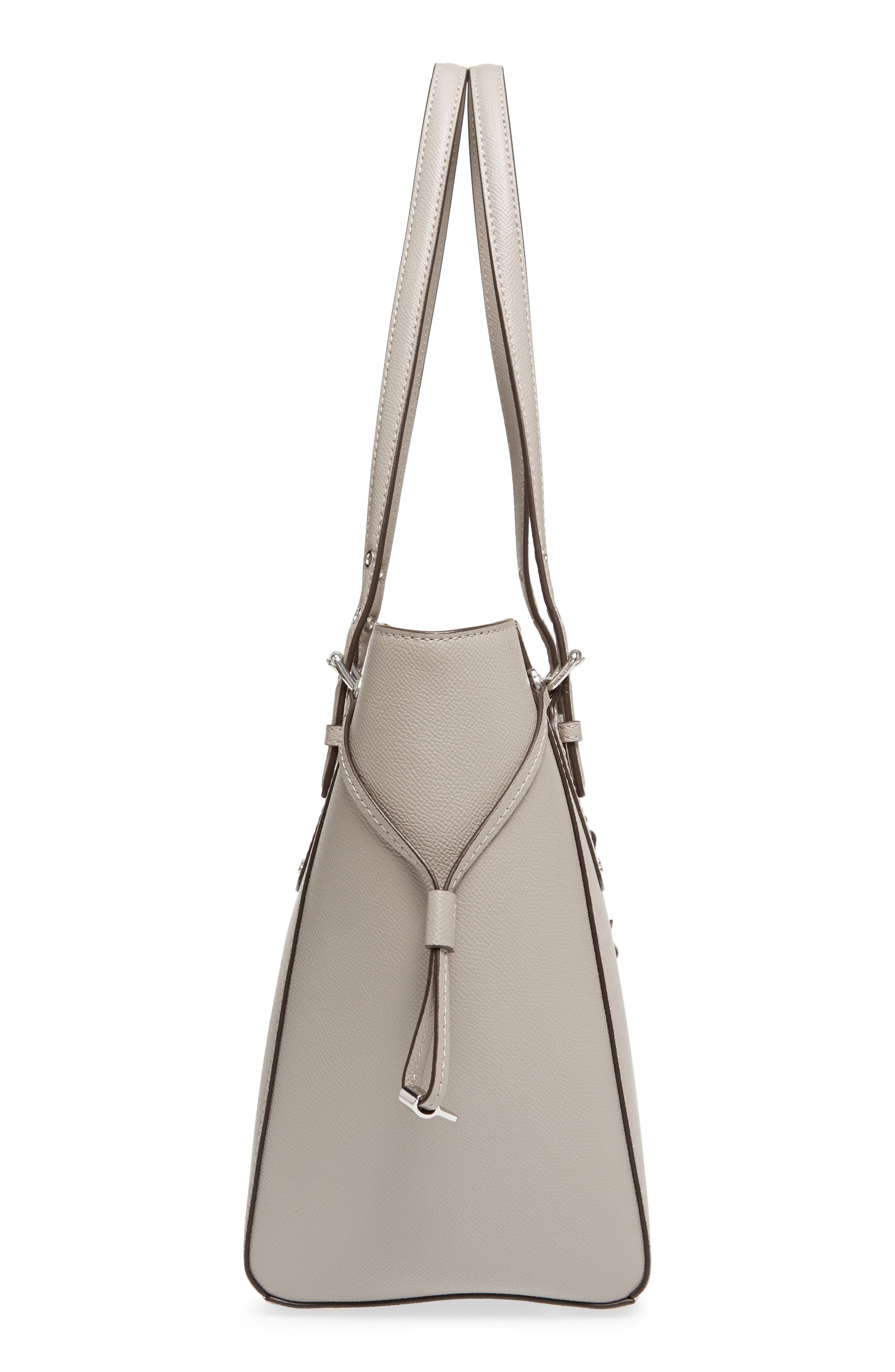 MICHAEL Michael Kors Voyager Leather Tote,                             Alternate thumbnail 5, color,                             Pearl Grey