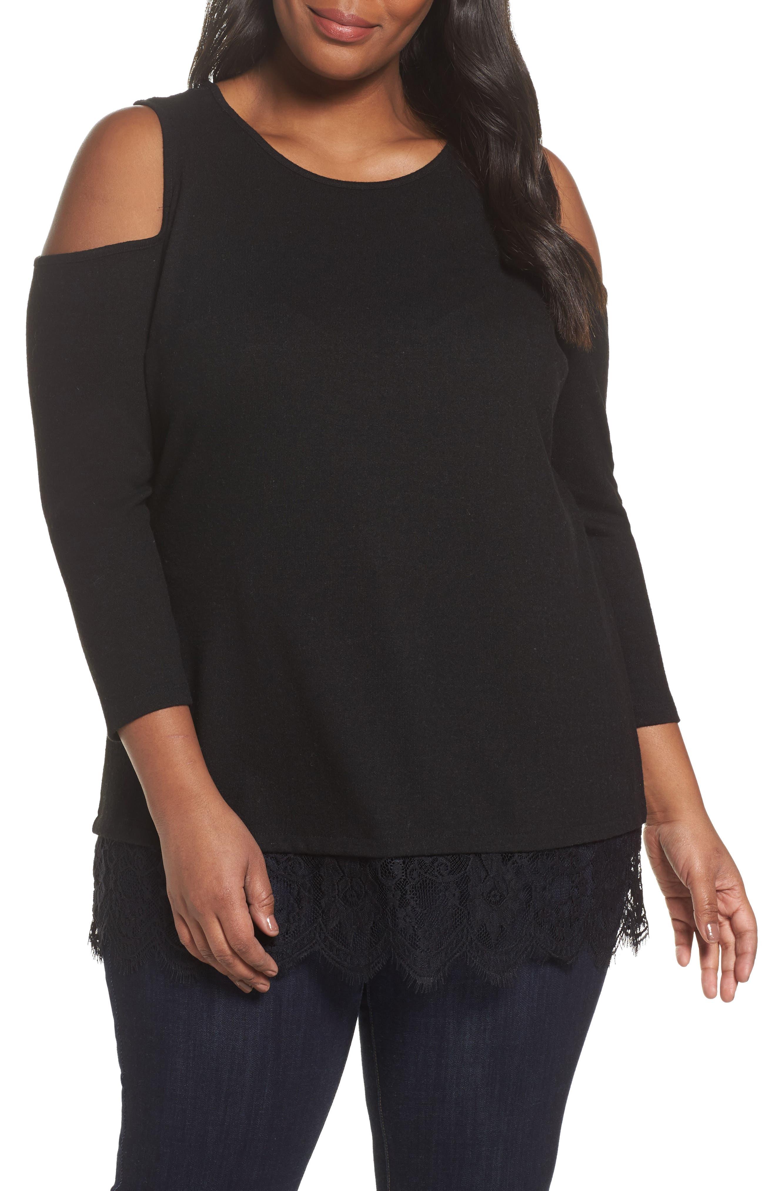 Main Image - Vince Camuto Lace Detail Cold Shoulder Top (Plus Size)