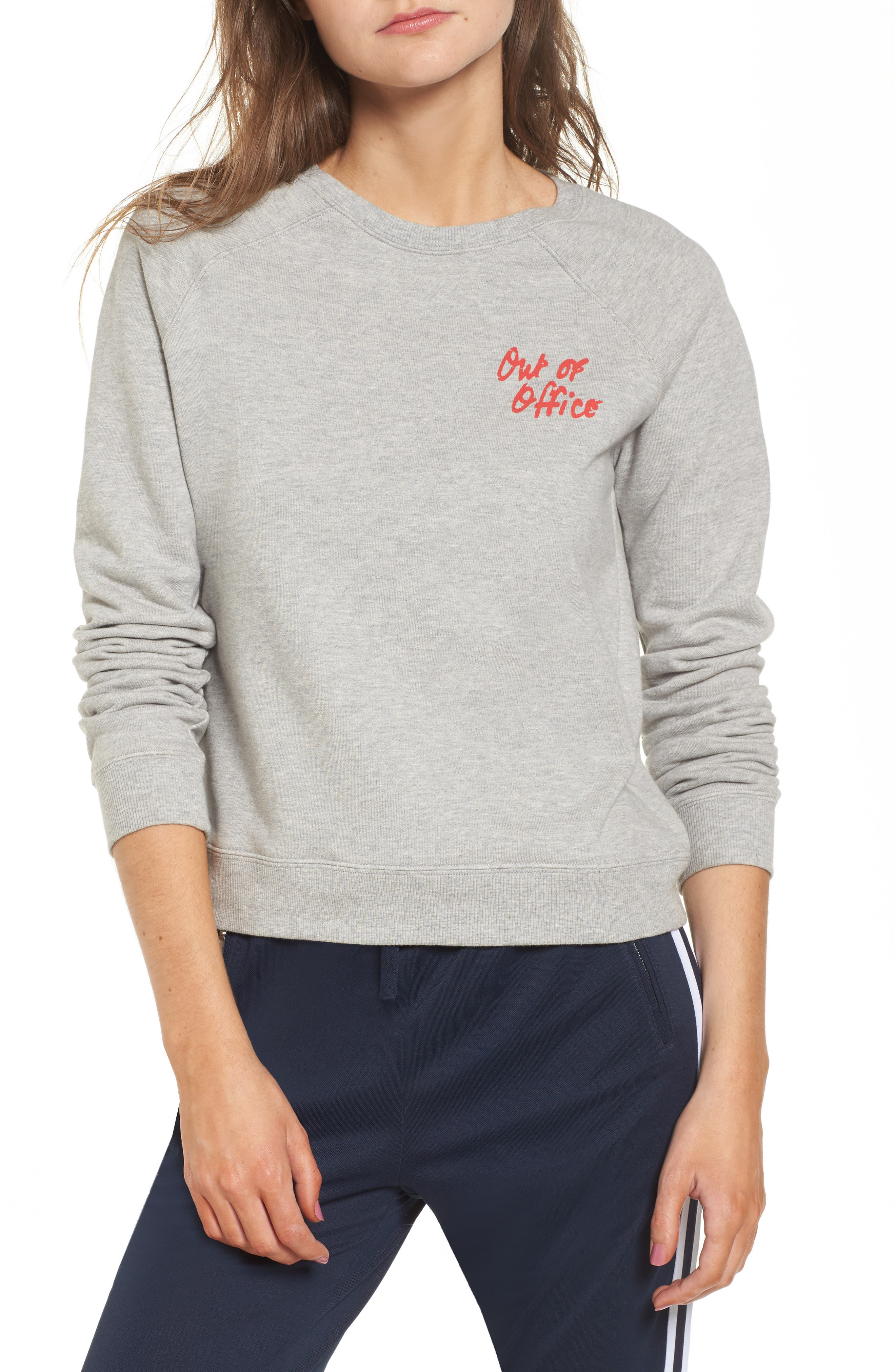 Out of Office Sweatshirt,                             Main thumbnail 1, color,                             Heather Grey/ Red