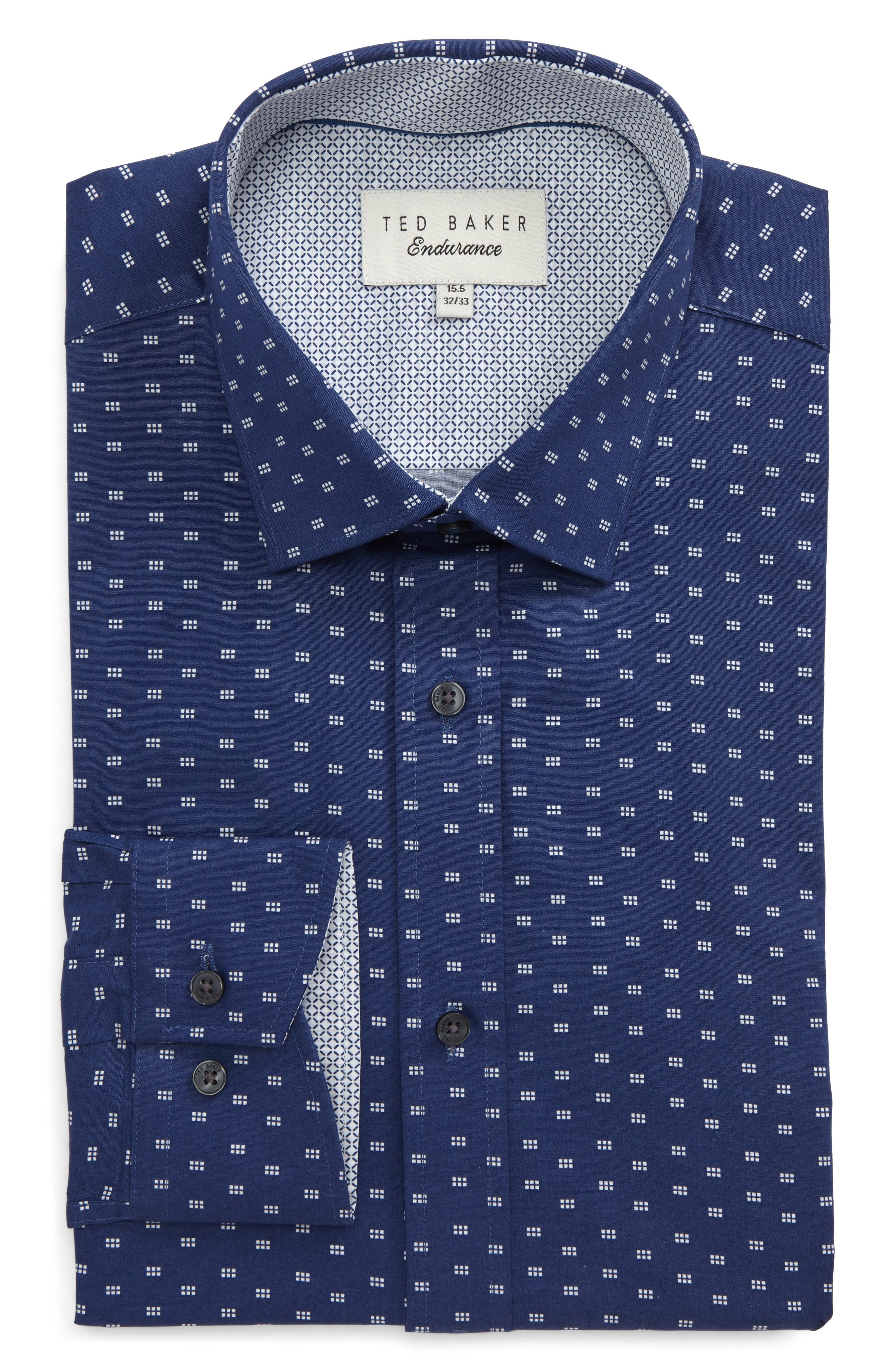 Main Image - Ted Baker London Endurance Trim Fit Dot Print Dress Shirt