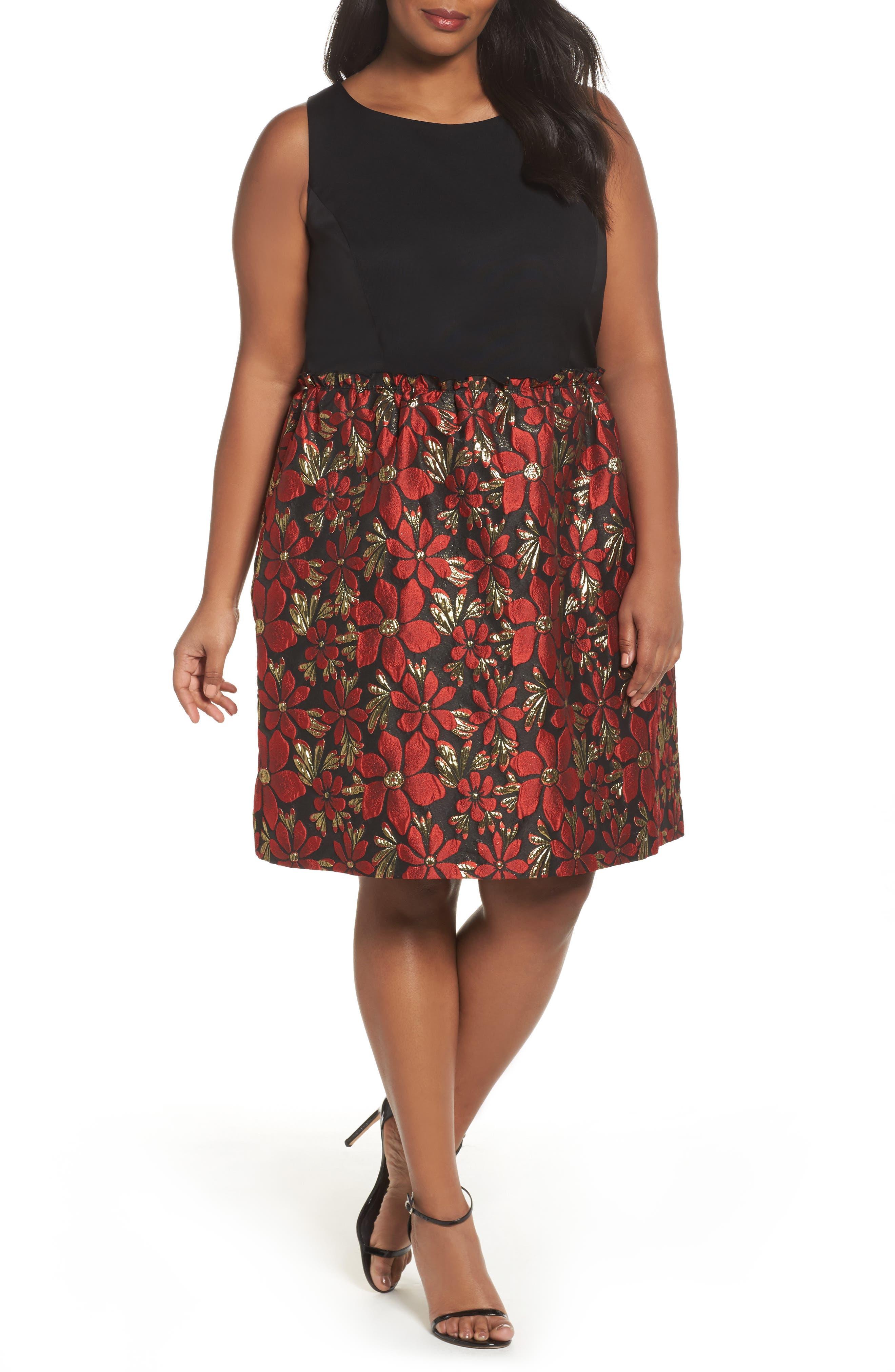 Sleeveless Jacquard Fit & Flare Dress,                             Main thumbnail 1, color,                             Black/ Red/ Gold
