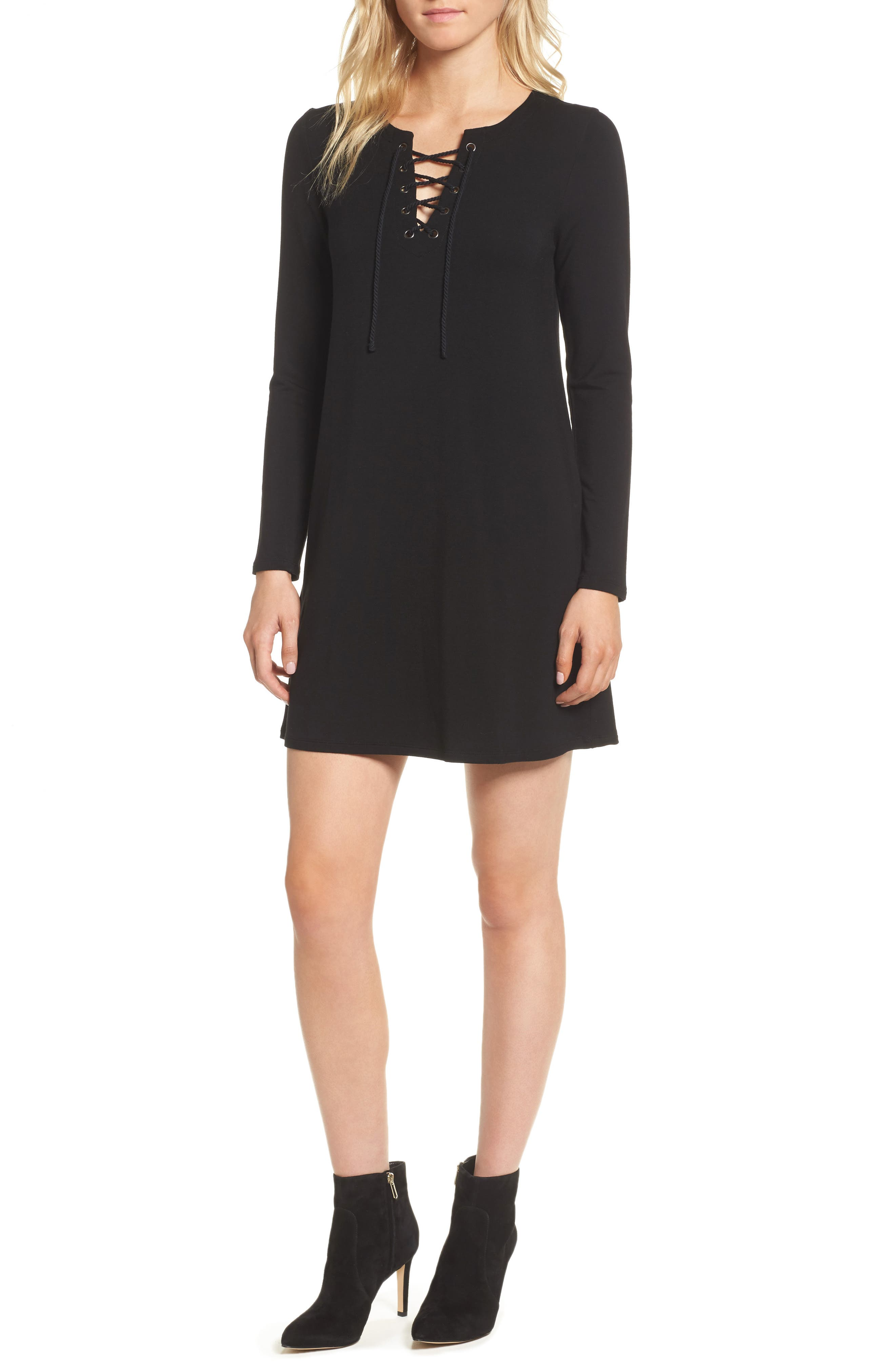 Alternate Image 1 Selected - cupcakes and cashmere Celerina Lace-Up Minidress