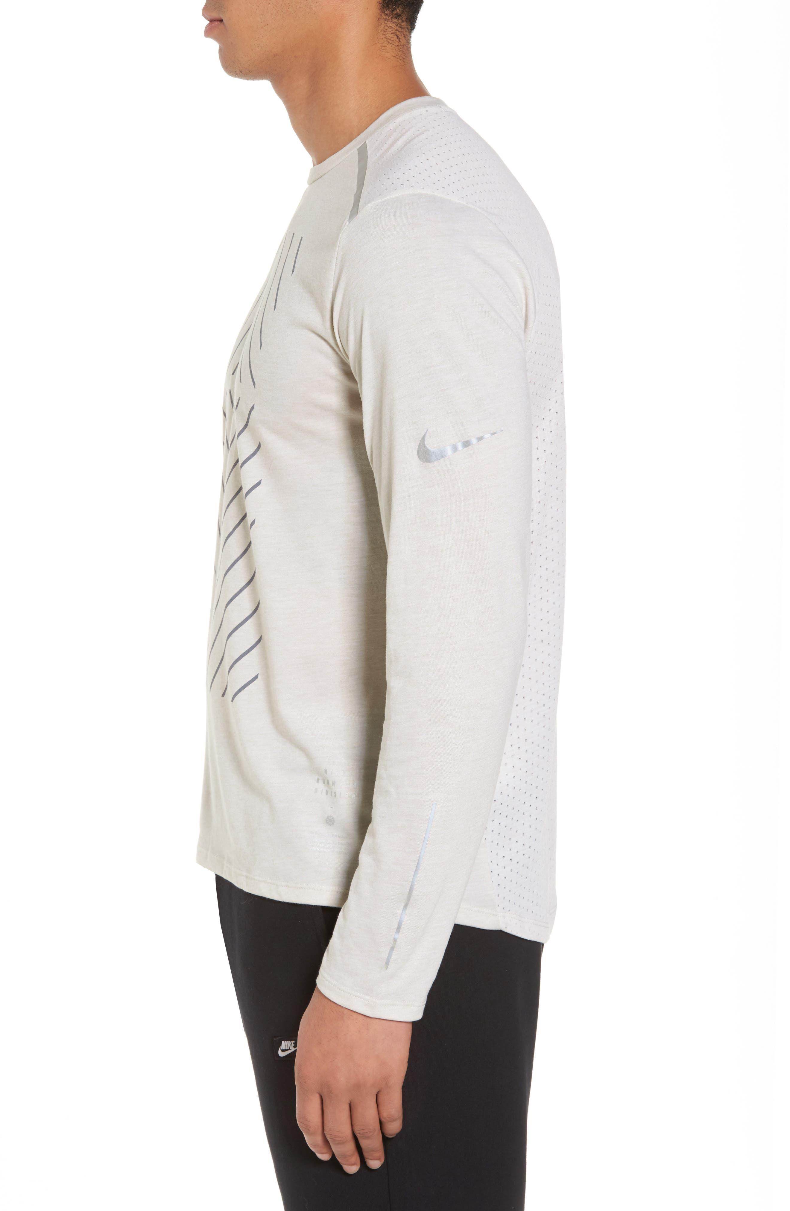 Tailwind Long Sleeve Running T-Shirt,                             Alternate thumbnail 3, color,                             Light Bone/ Heather