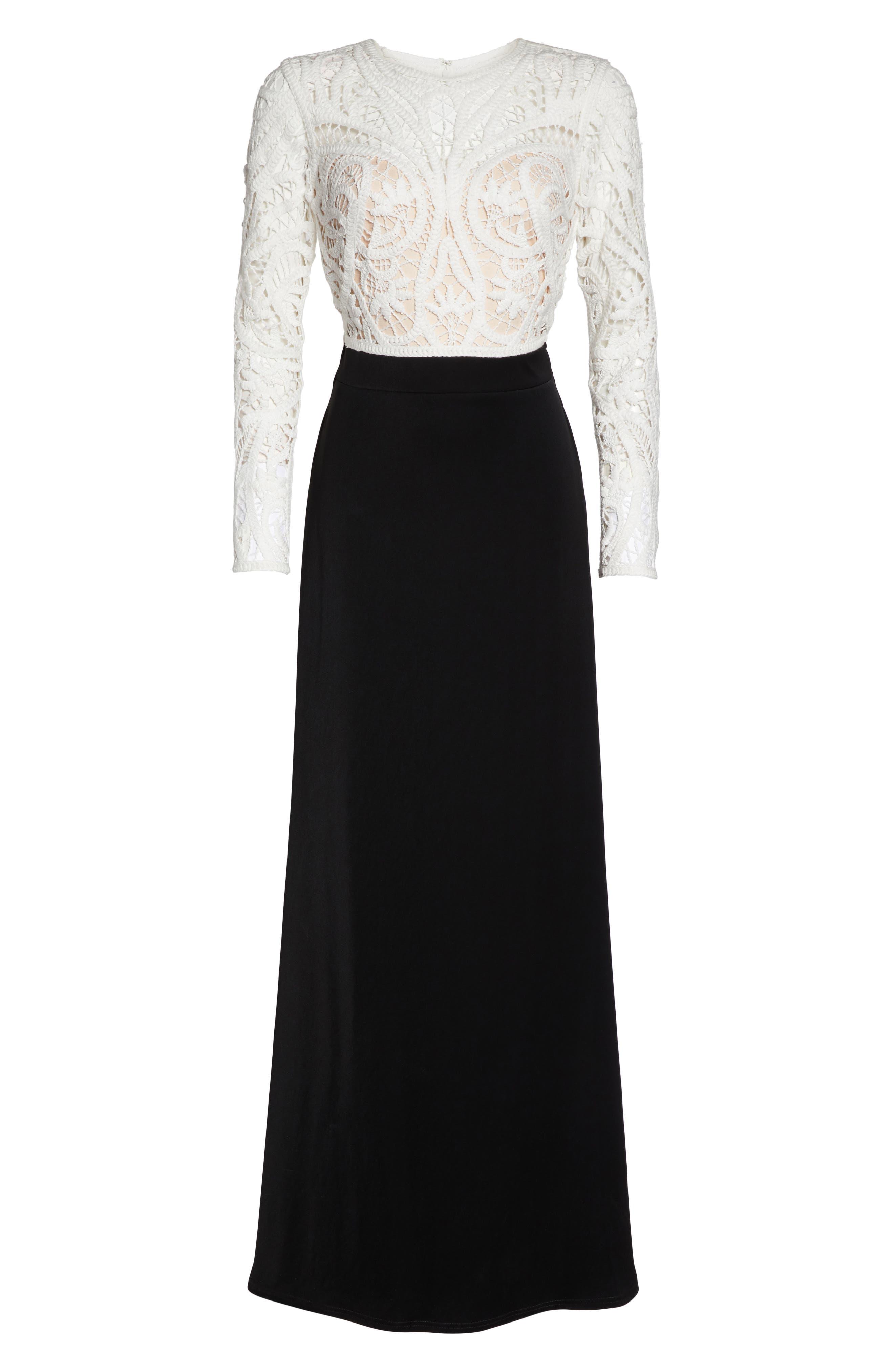 Crochet Lace & Crepe Gown,                             Alternate thumbnail 6, color,                             Ivory/ Black