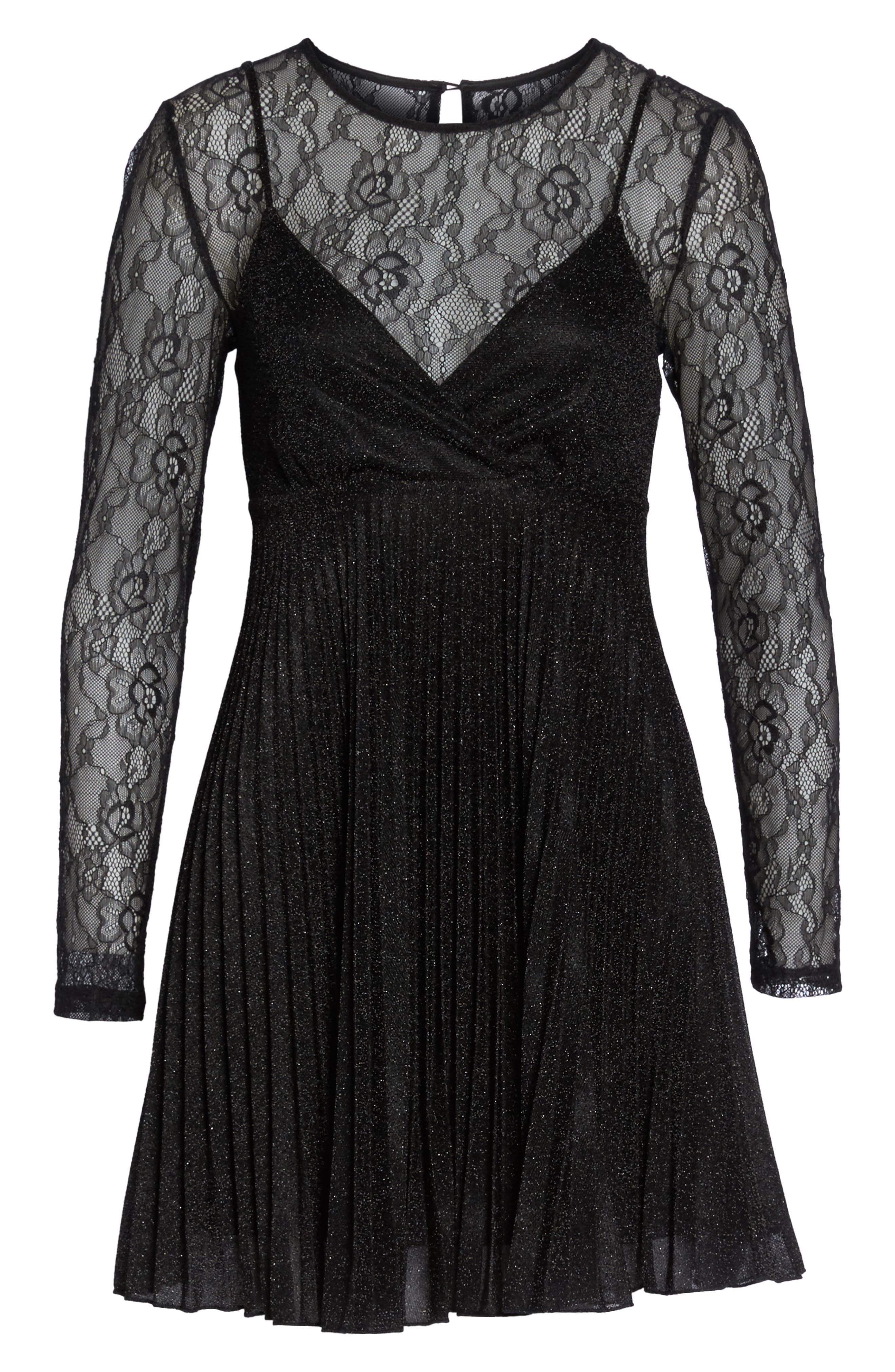 Alternate Image 6  - NSR Chantilly Lace Pleated Dress