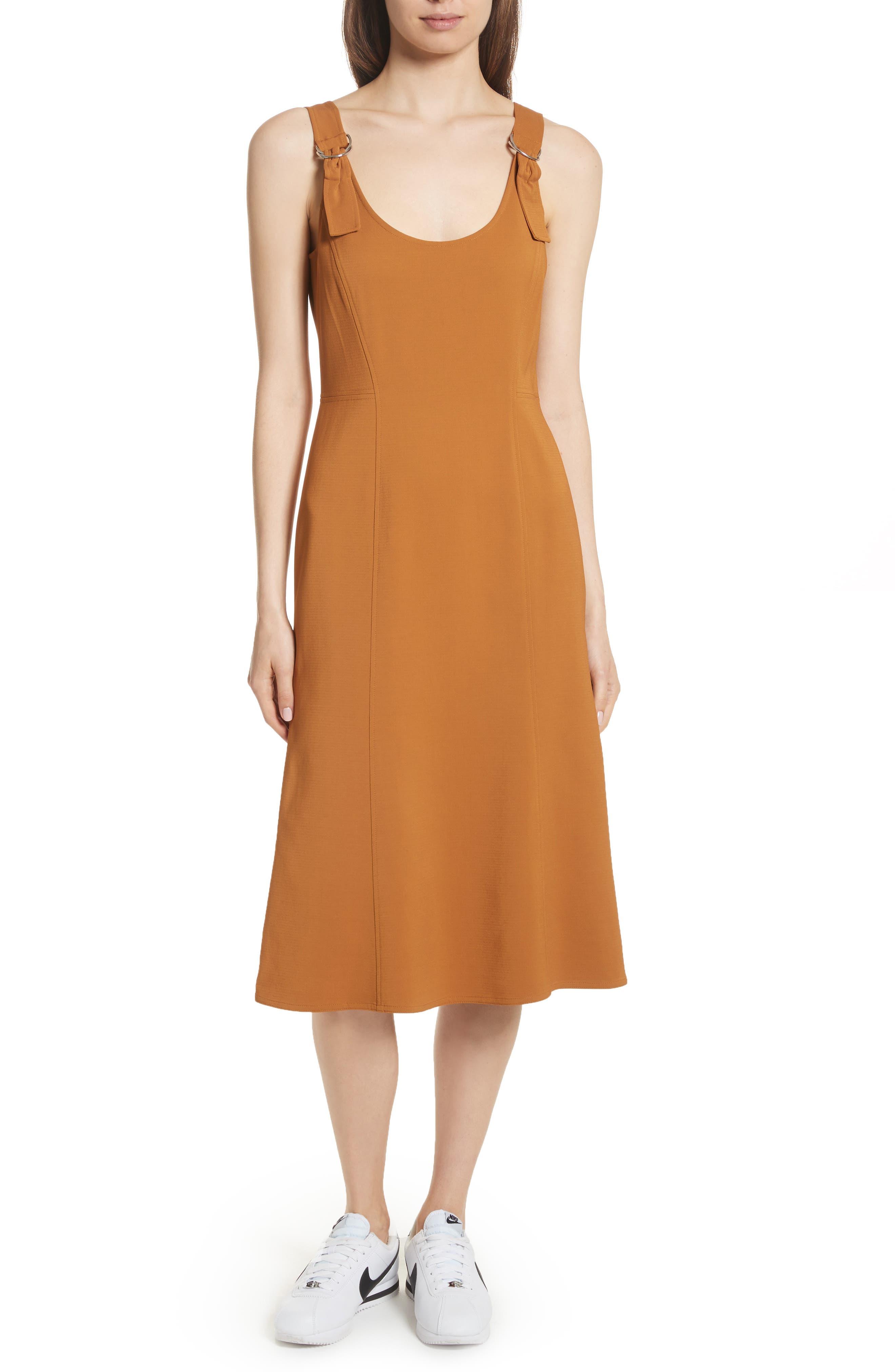 Sander Buckle Strap Midi Dress,                             Main thumbnail 1, color,                             Gold
