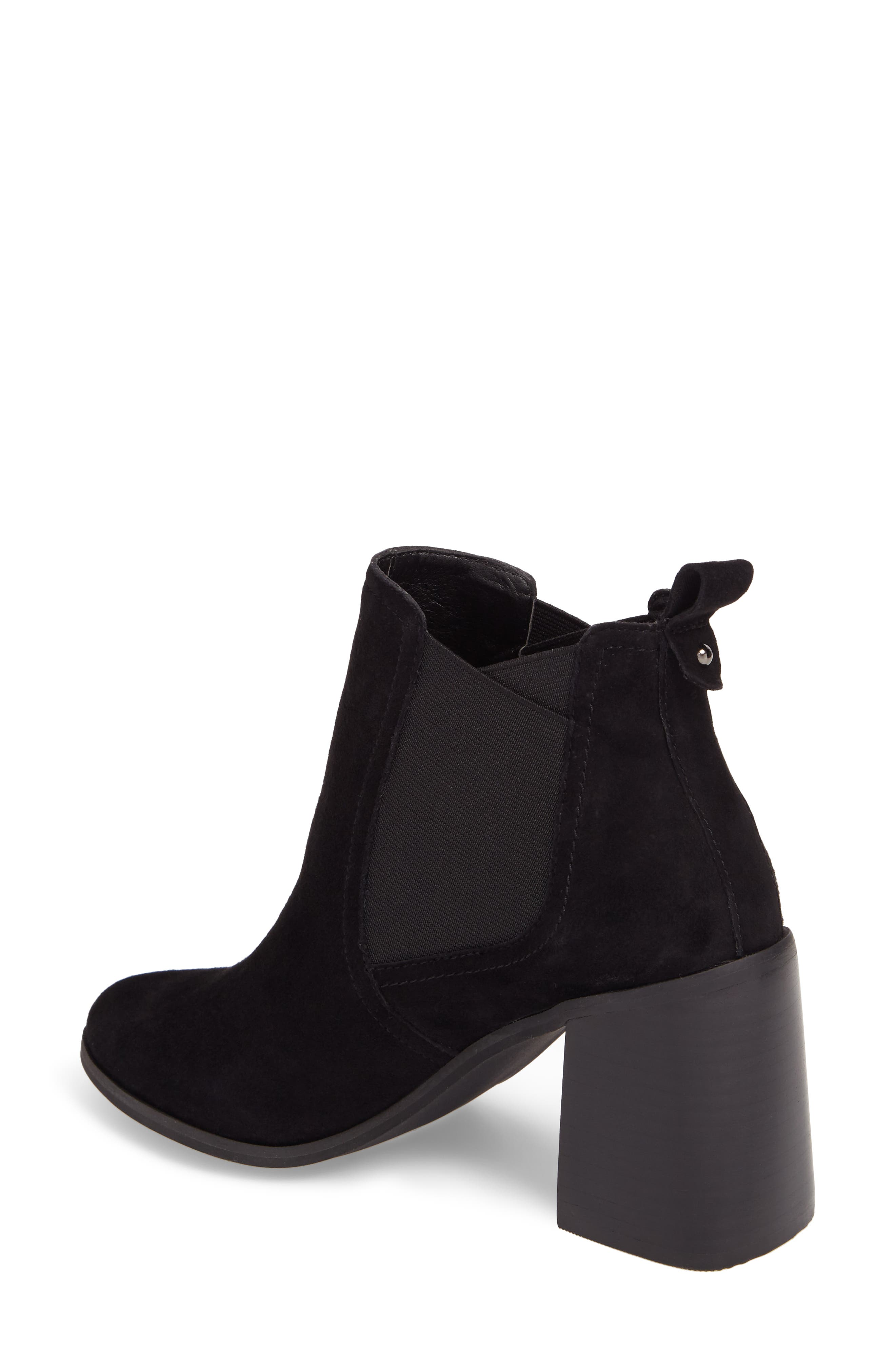 Quinn Flared Heel Chelsea Bootie,                             Alternate thumbnail 3, color,                             Black Suede