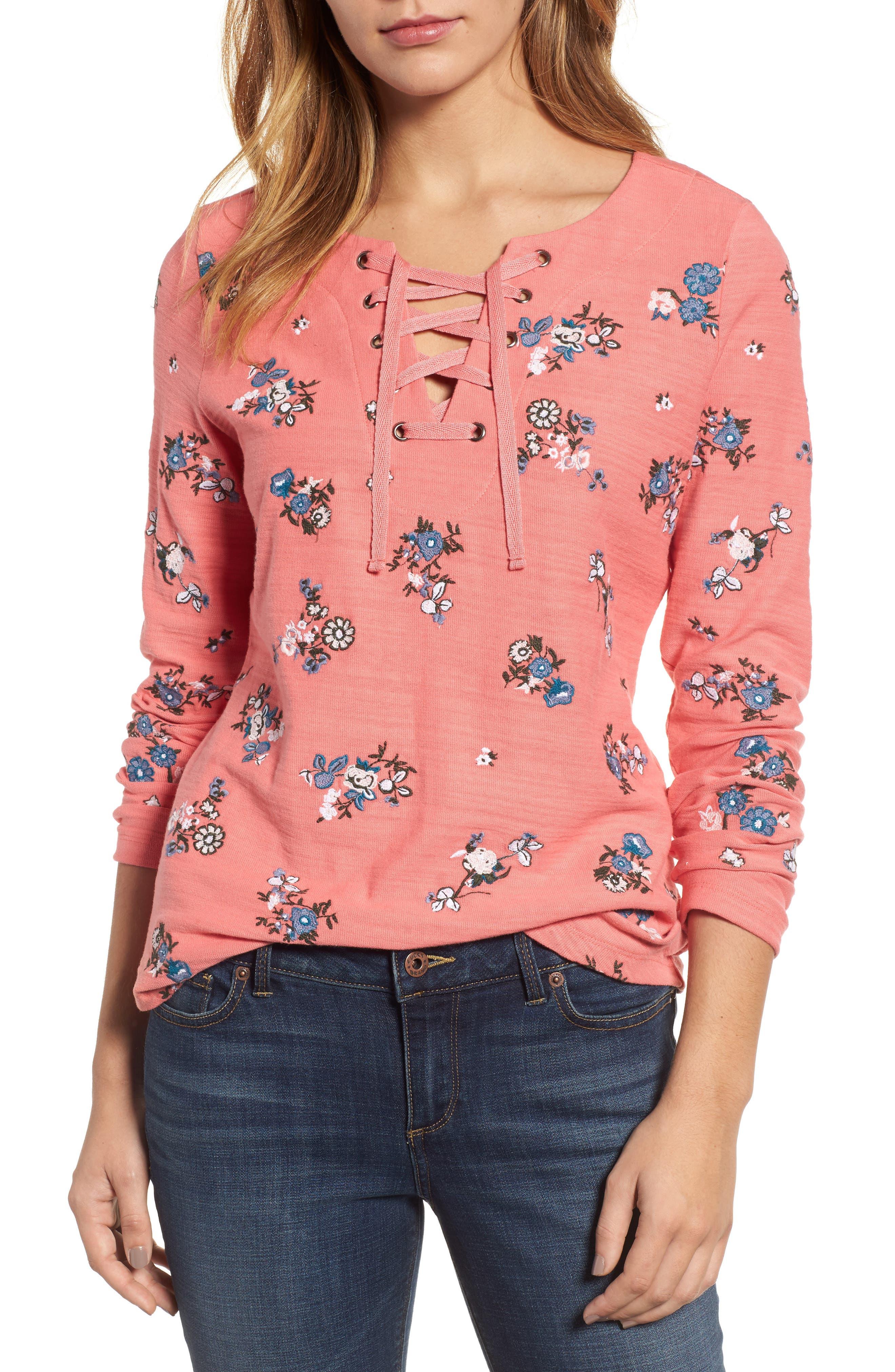 Caslon® Lace-Up Neck Floral Embroidered Sweatshirt (Regular & Petite)