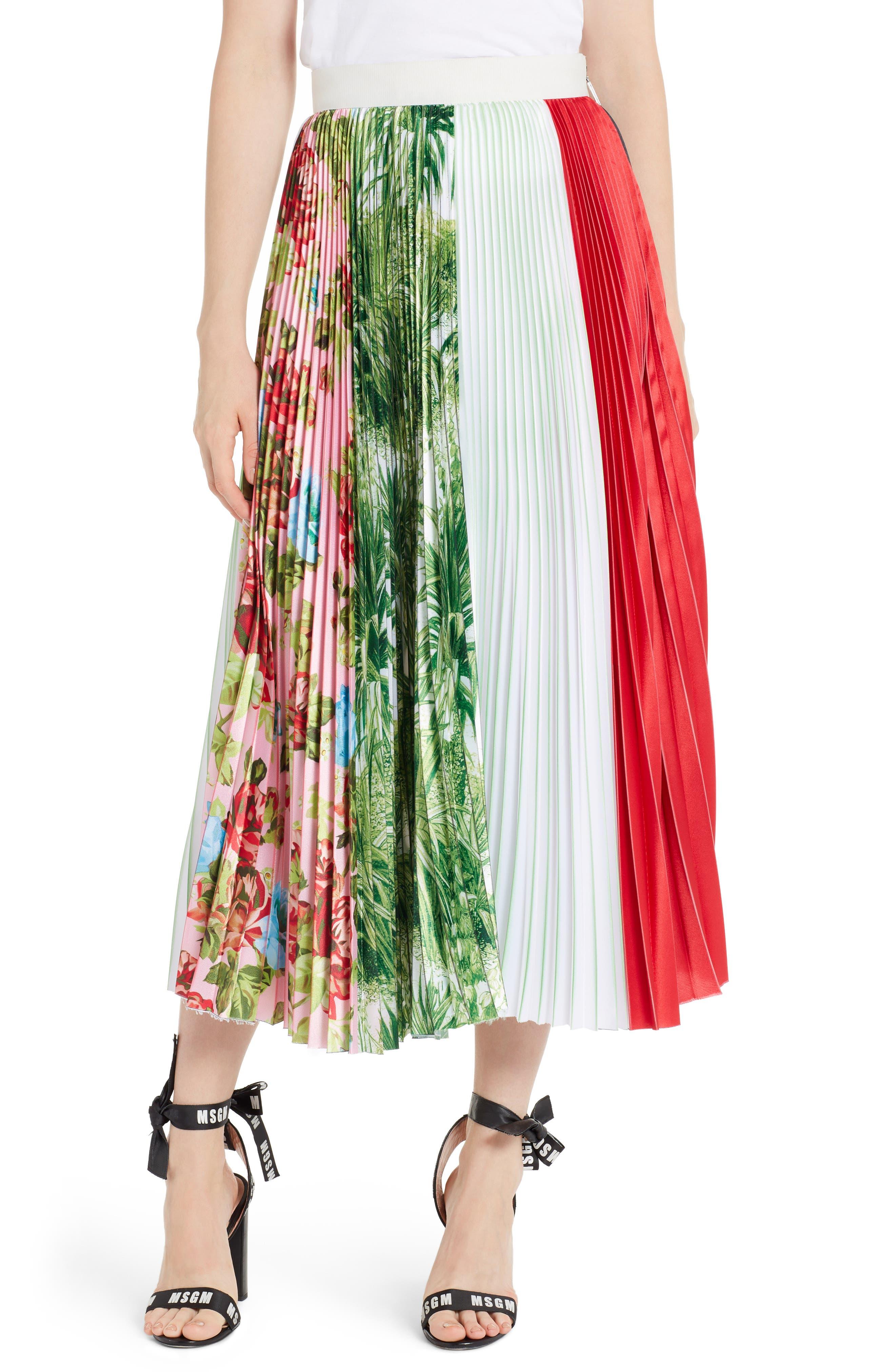 Pleated Midi Skirt,                         Main,                         color, Multi 02