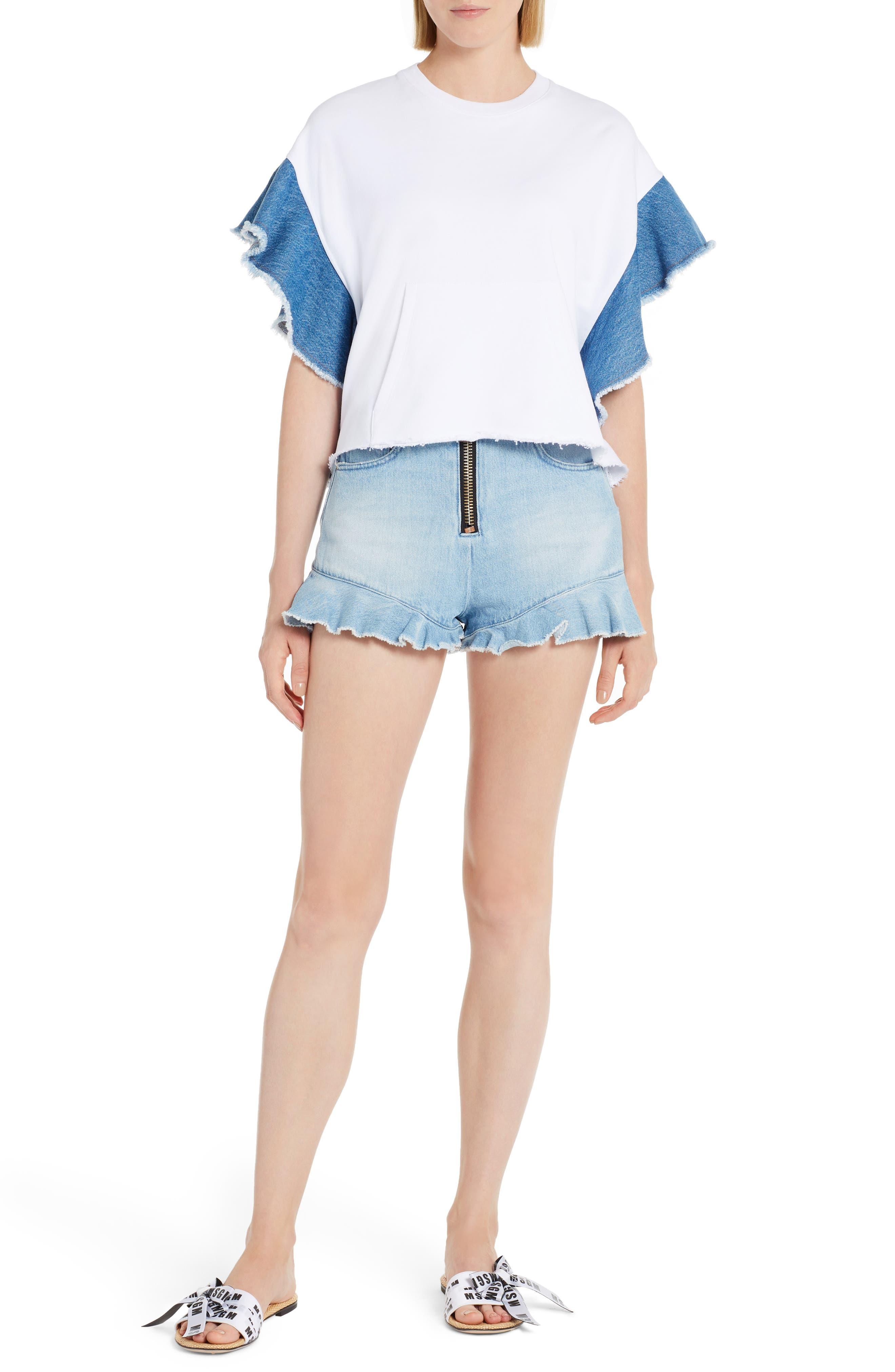 Alternate Image 6  - MSGM Denim Flutter Sleeve Cotton Top