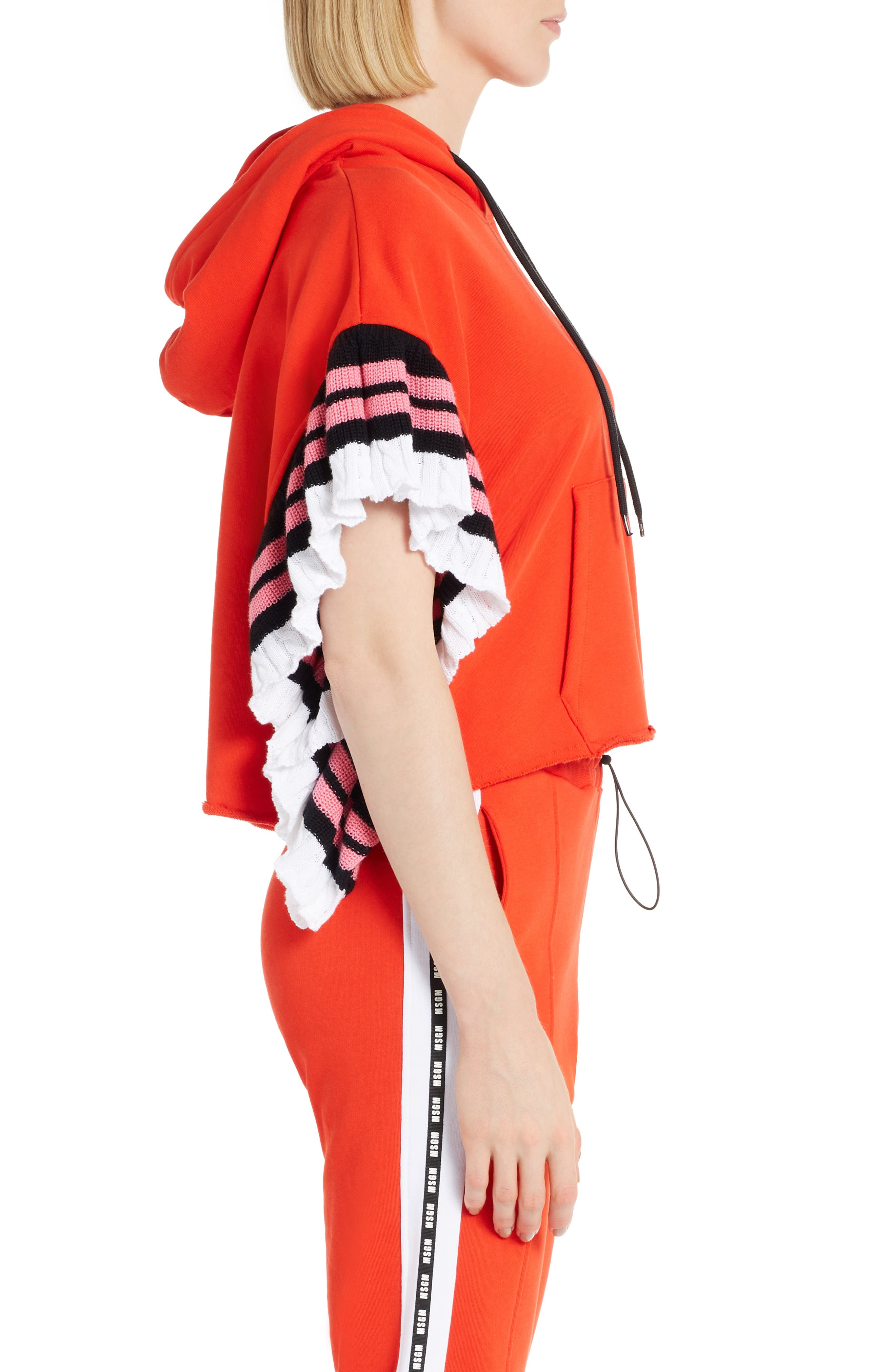 Contrast Ruffle Sleeve Hoodie,                             Alternate thumbnail 3, color,                             Red 18