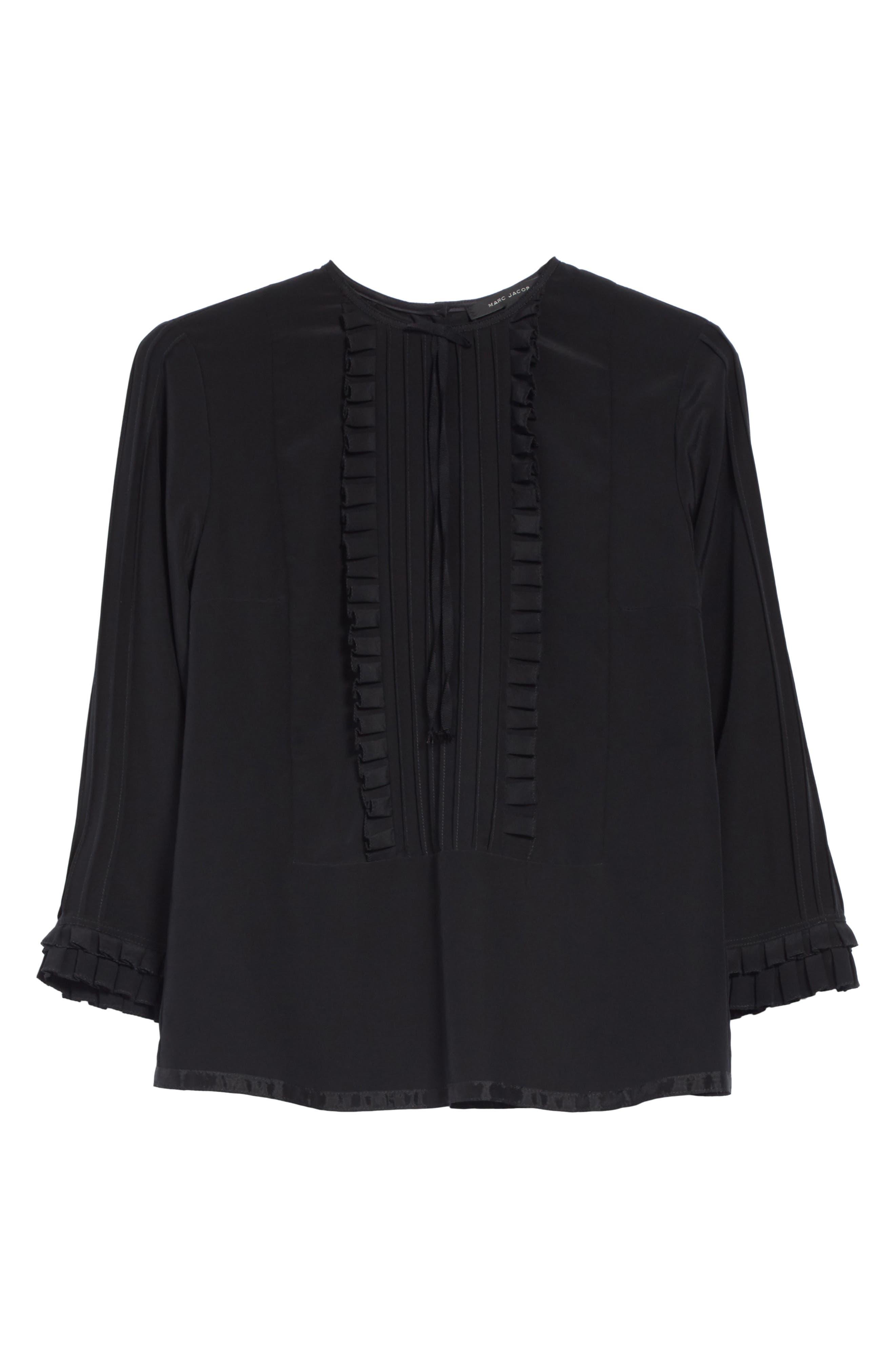 Pleated Ruffle Silk Blouse,                             Alternate thumbnail 6, color,                             Black